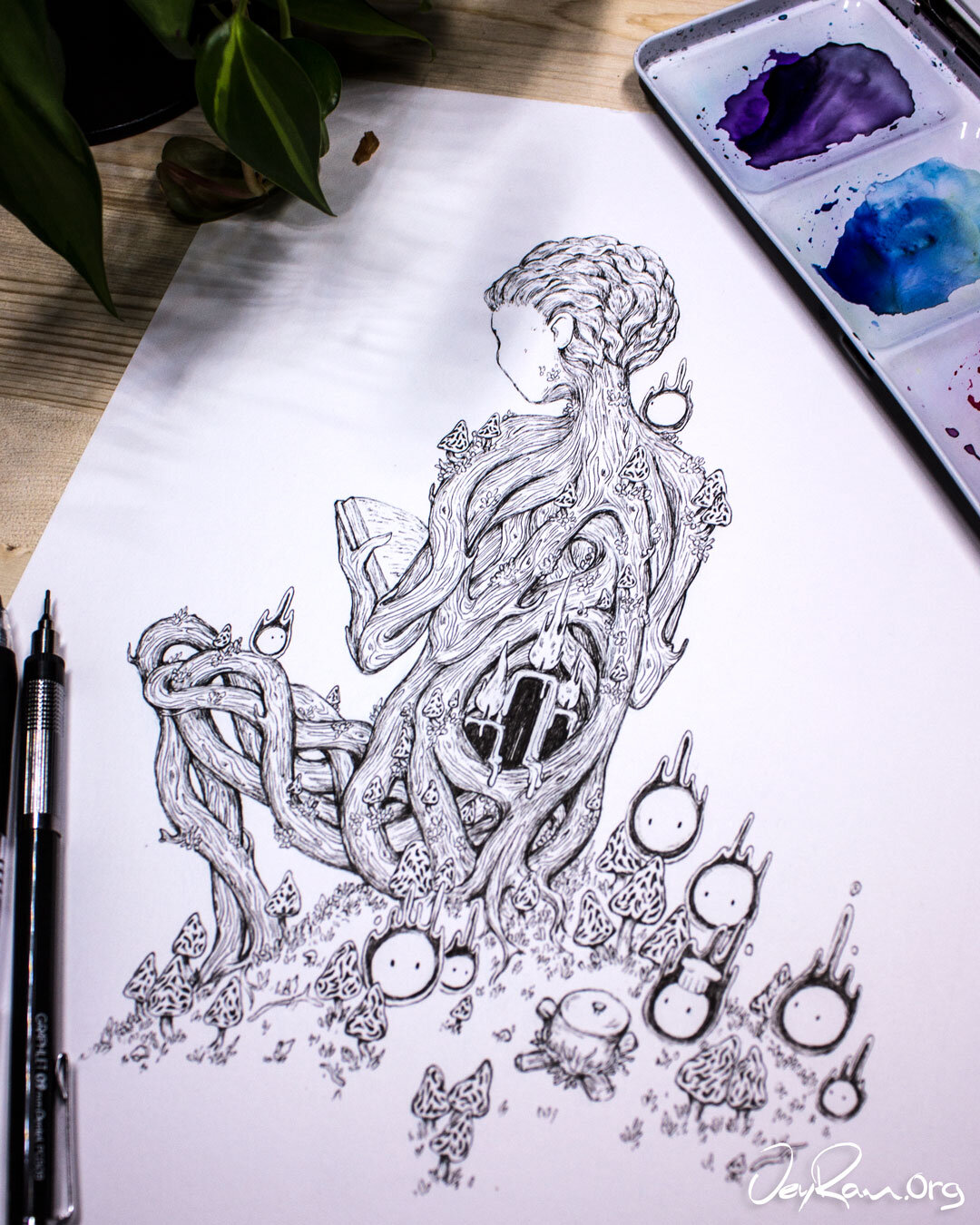 Morchella Wizard Ink Drawing :  Ballpoint Pen Art by JeyRam. I'm an artist from Toronto that specializes in simple and elegant ink drawing! #inktober #inkart #originalart #inktober2019