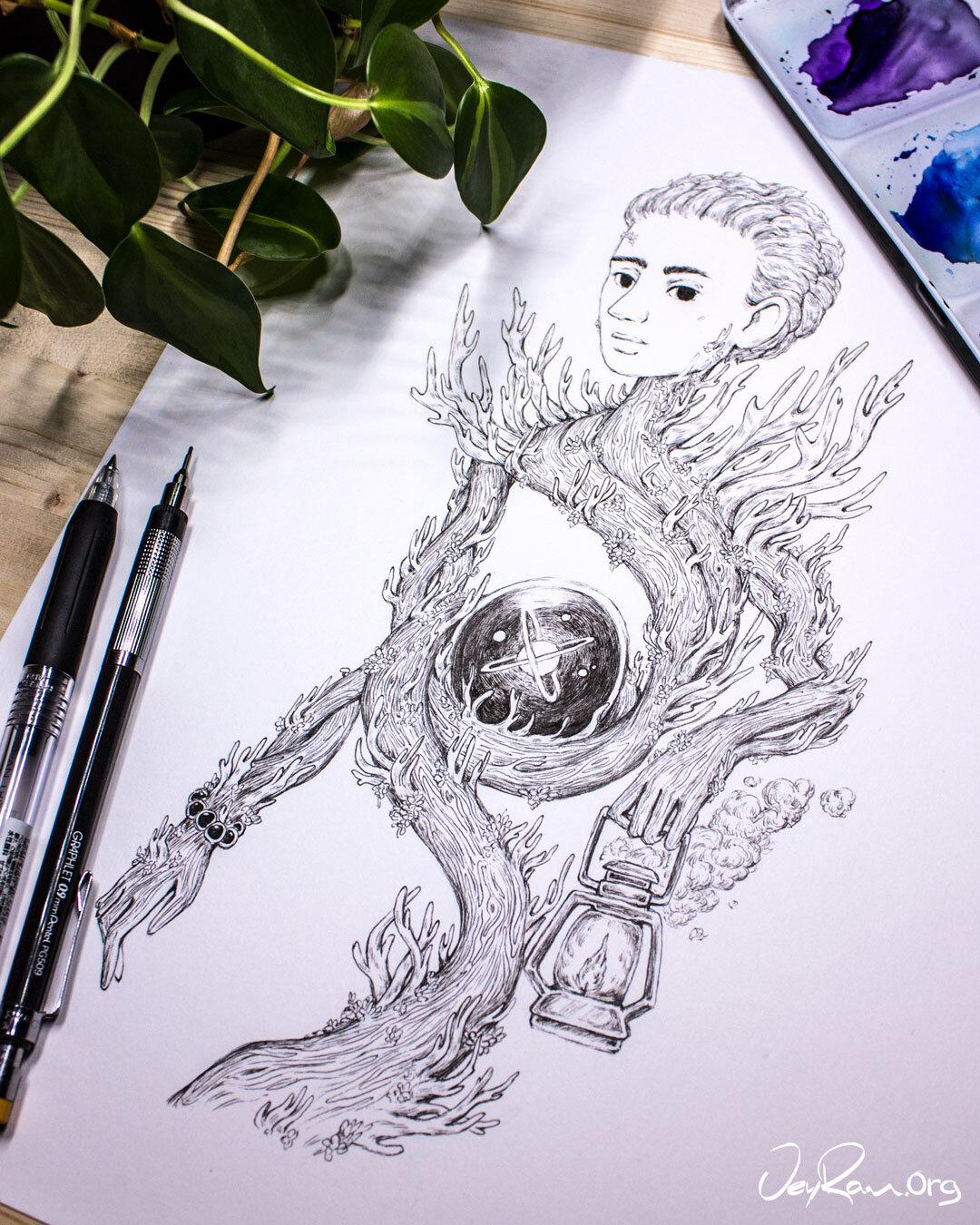Mushroom Wizard Ink Drawing :  Ballpoint Pen Art by JeyRam. I'm an artist from Toronto that specializes in nature inspired ink drawings! #inktober #inkart #originalart #inktober2019
