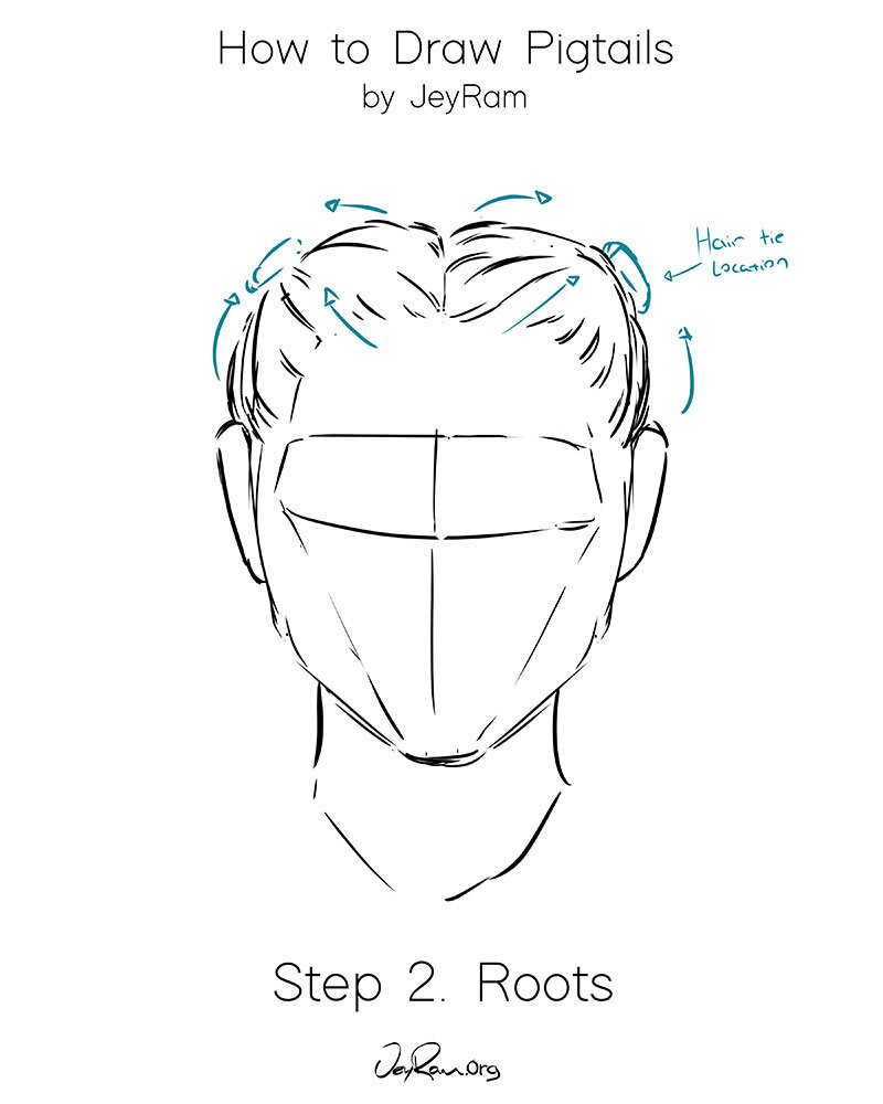How To Draw Hair In Pigtails Step By Step Tutorial For Beginners Jeyram Art