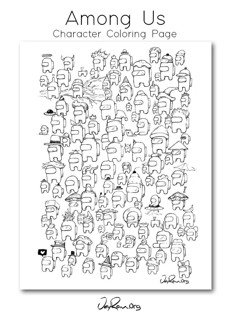 Among Us Character   Coloring Page Free   JeyRam Spiritual Art