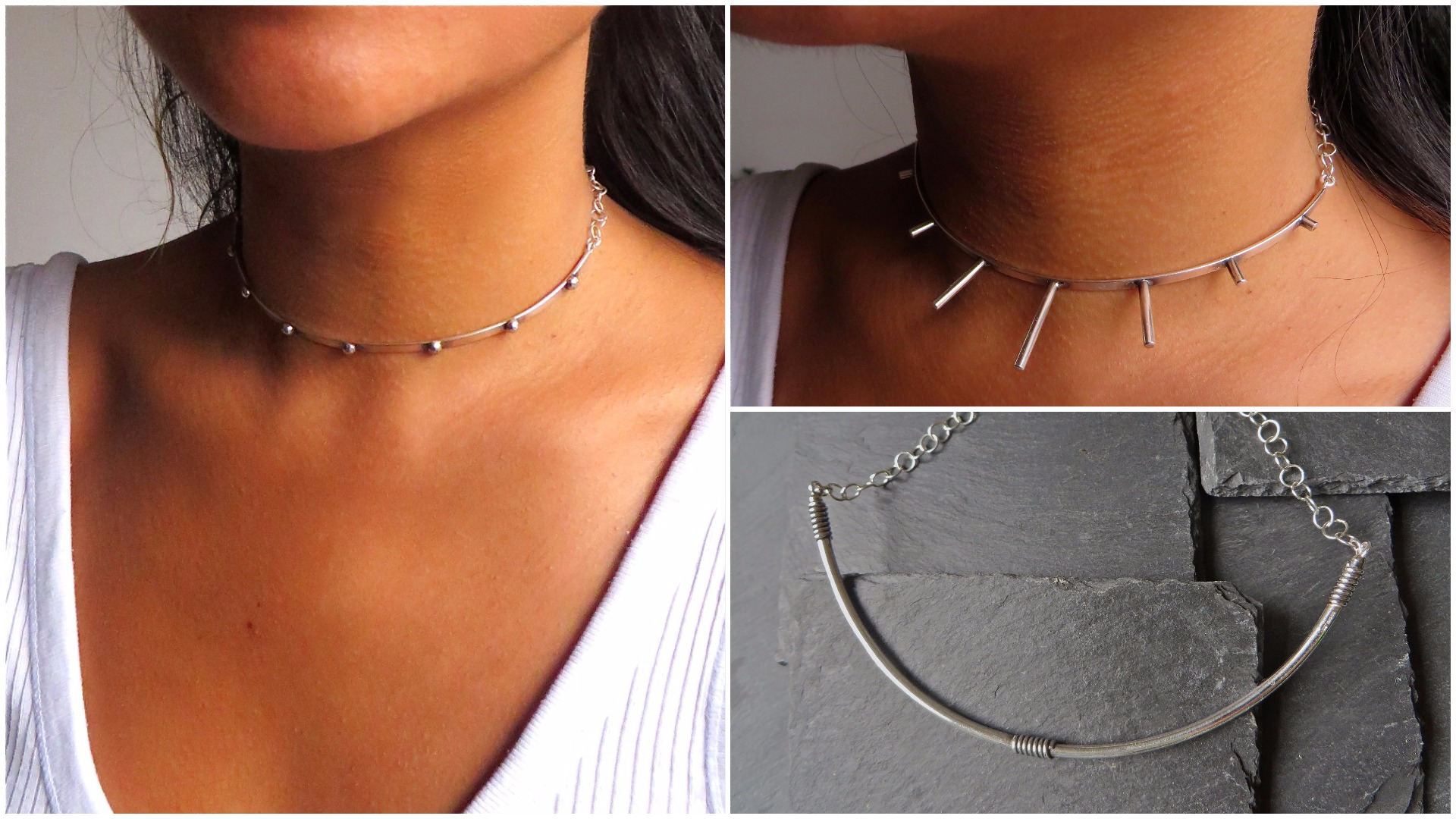 The  Silver Studded Punk Choker  has a delicate strength. The  Silver Punk Sunshine Choker  is elegantly fierce and the  Silver Wrap Choker  is a sexy classic.