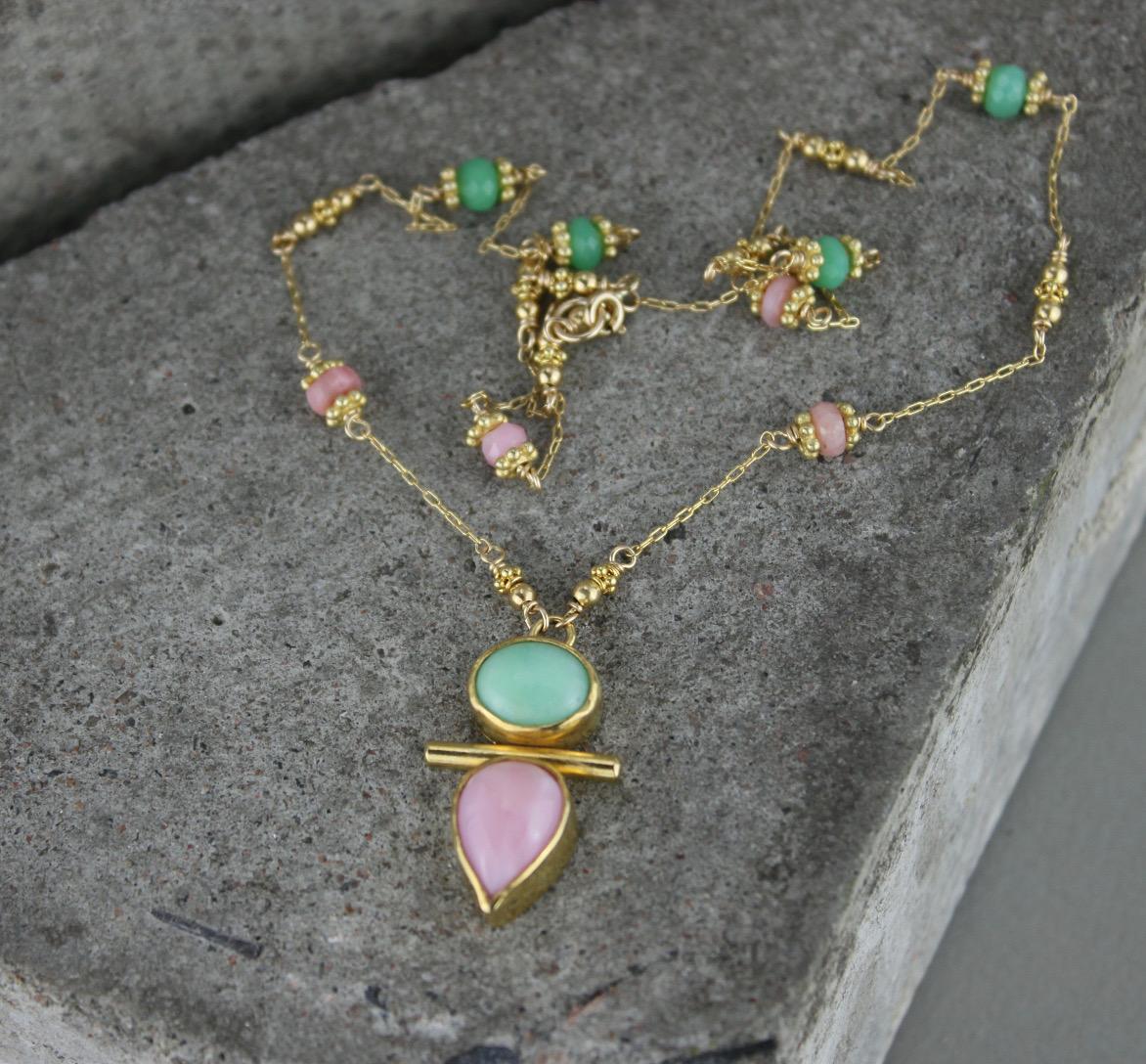 pink opal chrysoprase gold totem necklace Marcia Vidal.jpg