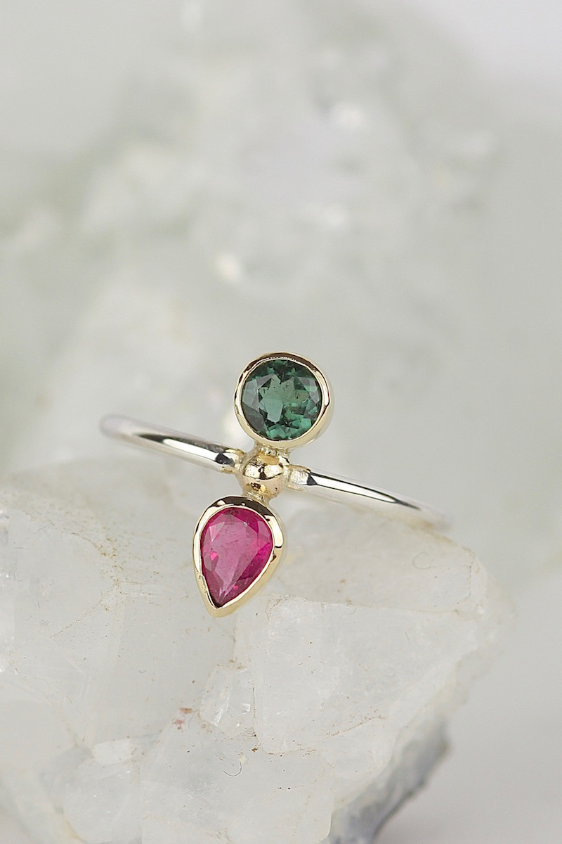 sterling silver & 9ct gold tourmaline bespoke ring.jpg