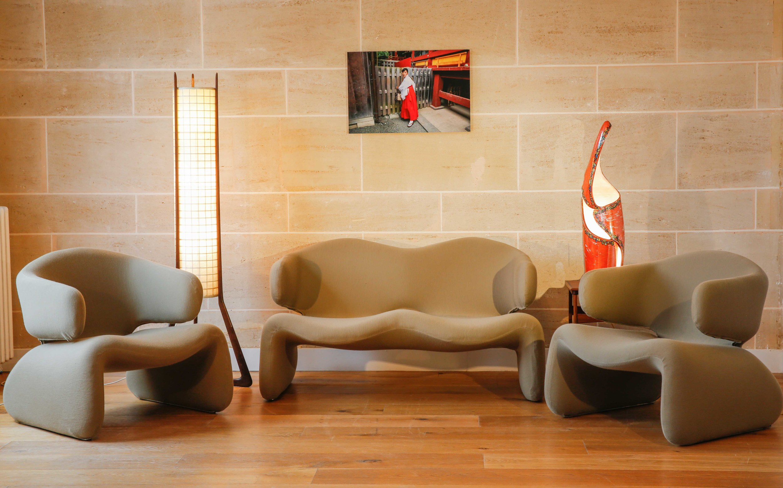 A Djinn two seat sofa and two armchairs. Design by Olivier MOURGUE.