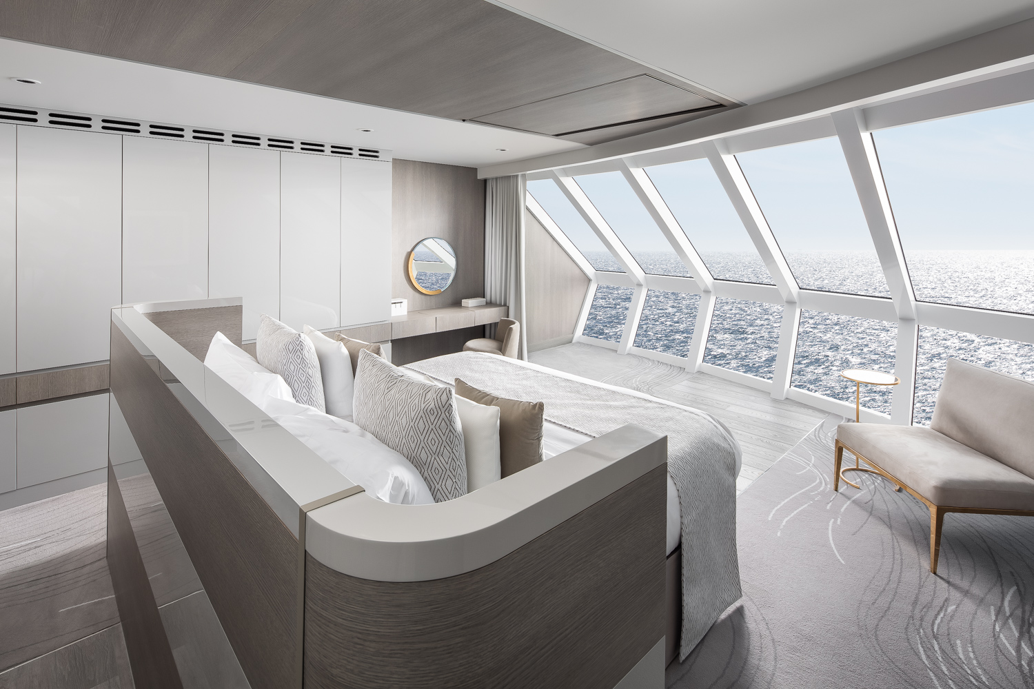 Master bedroom in the  Iconic Suite.  There's only two of these on-board. They are situated directly under the ship's bridge and share the same panoramic view of the ocean up head.