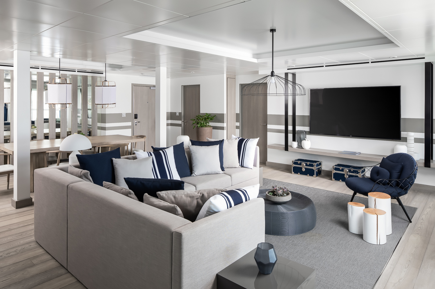 Living/dining area of the  Penthouse Suite.
