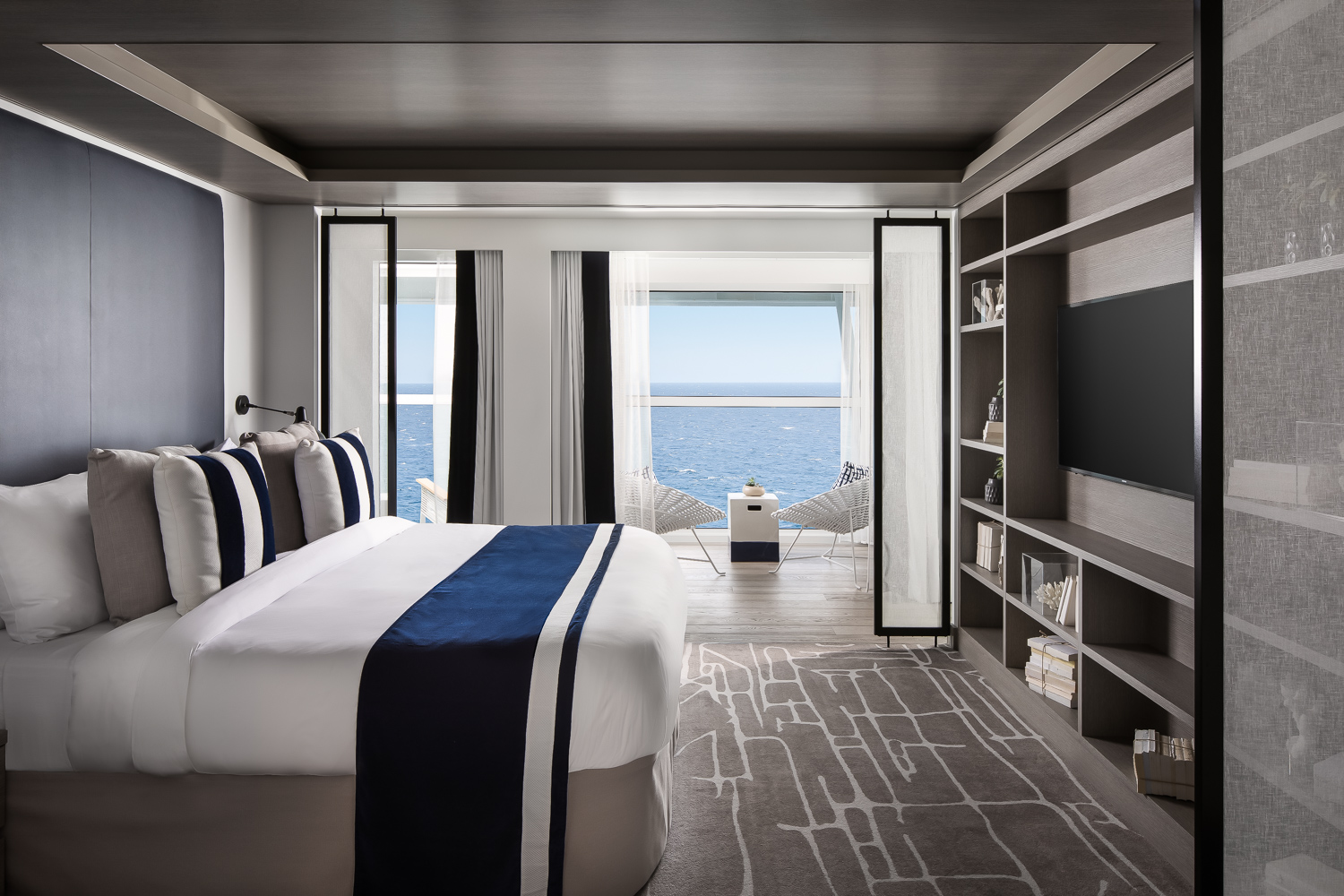 Master bedroom of the  Penthouse Suite.  Complete with dressing room and en-suite bathroom with private hot tub.