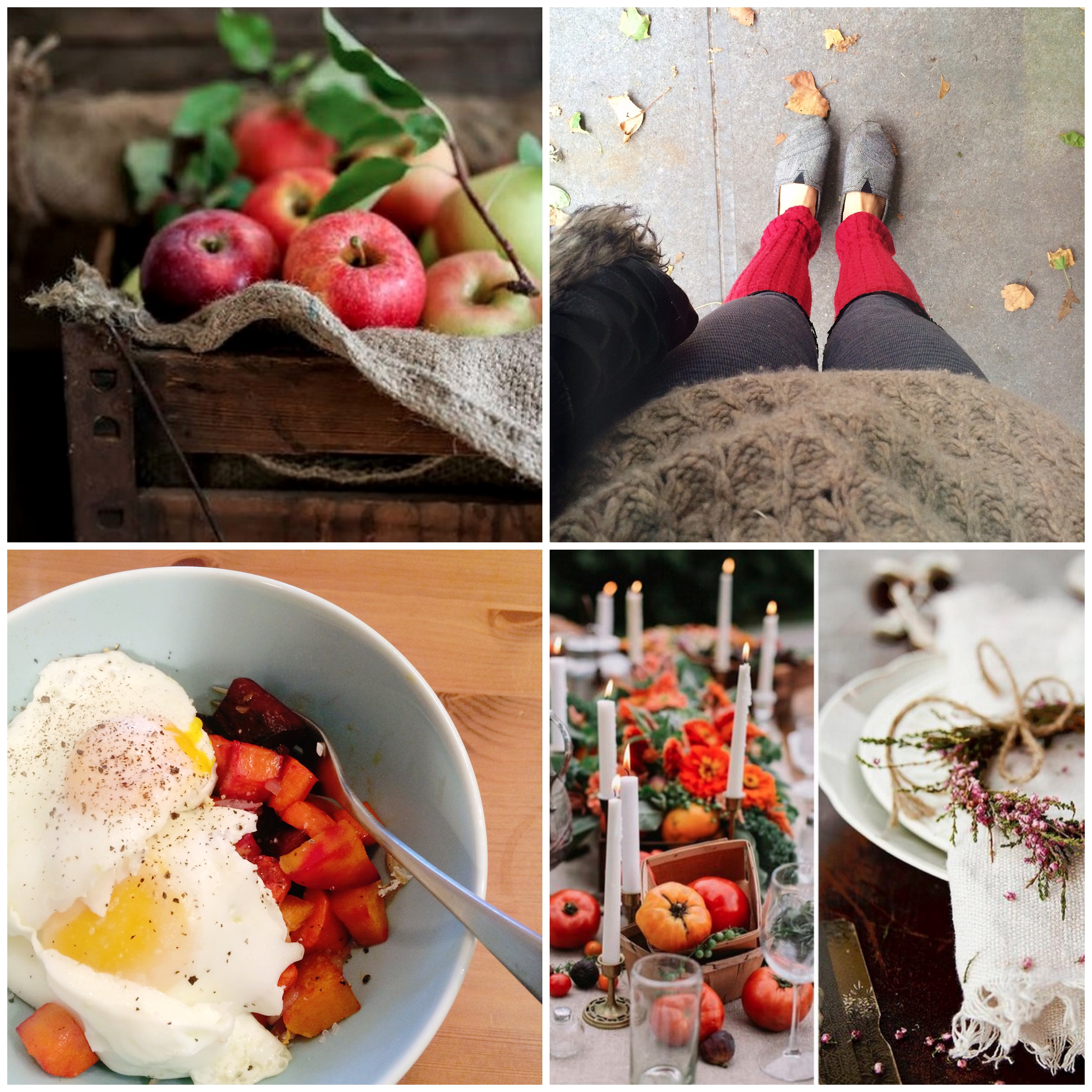 Top left: yummy fall apples! Top right: en route to my local coffee shop this morning to put the finishing touches on something new ;) Bottom left: A delicious fall hash I whipped up over the weekend with a girlfriend. Out of this world. Bottom right: Fall table setting inspiration. Love.