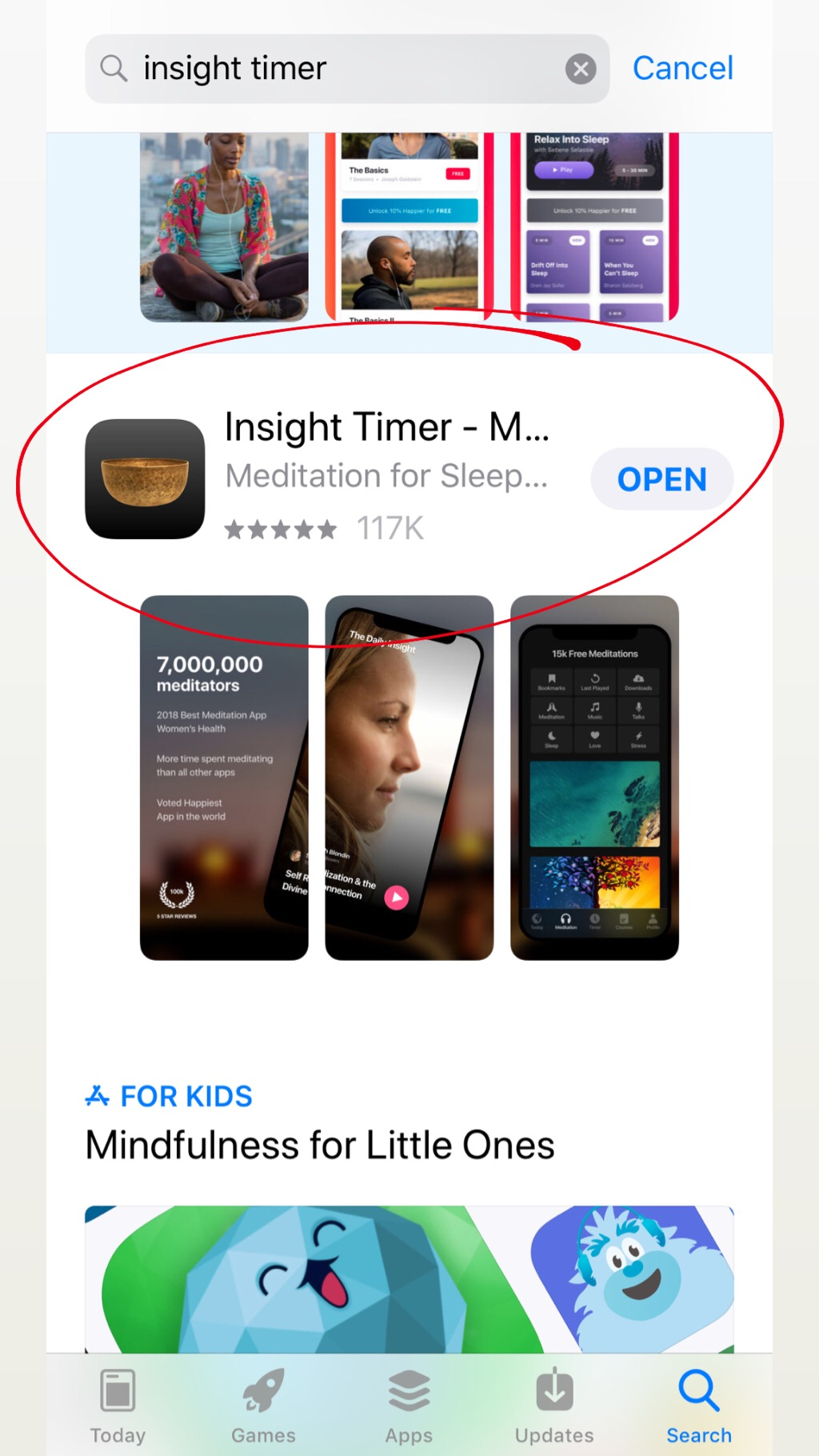 This is what Insight Timer looks like in the Apple App Store.