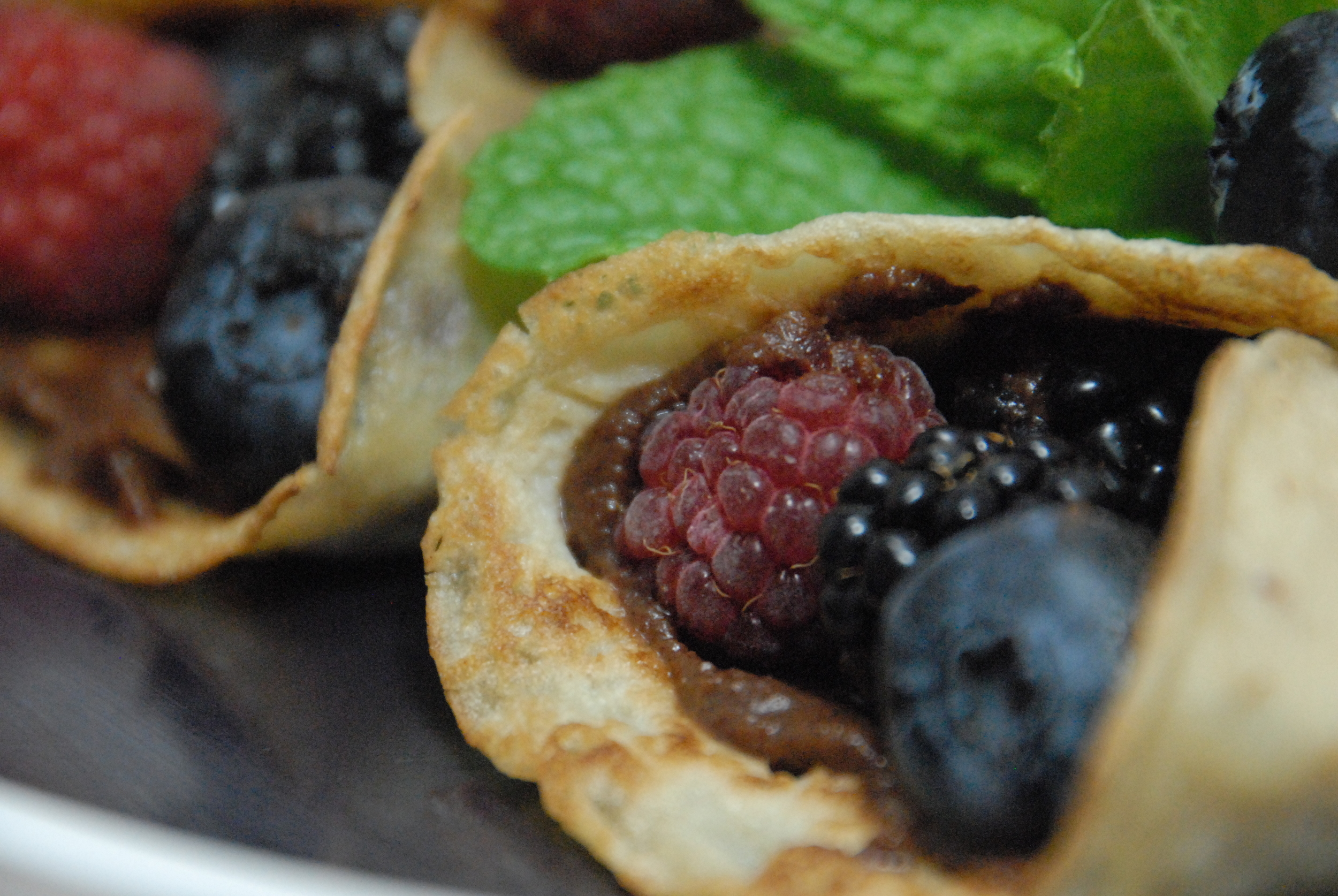Fruit-filled crepes with chocolate espresso spread.