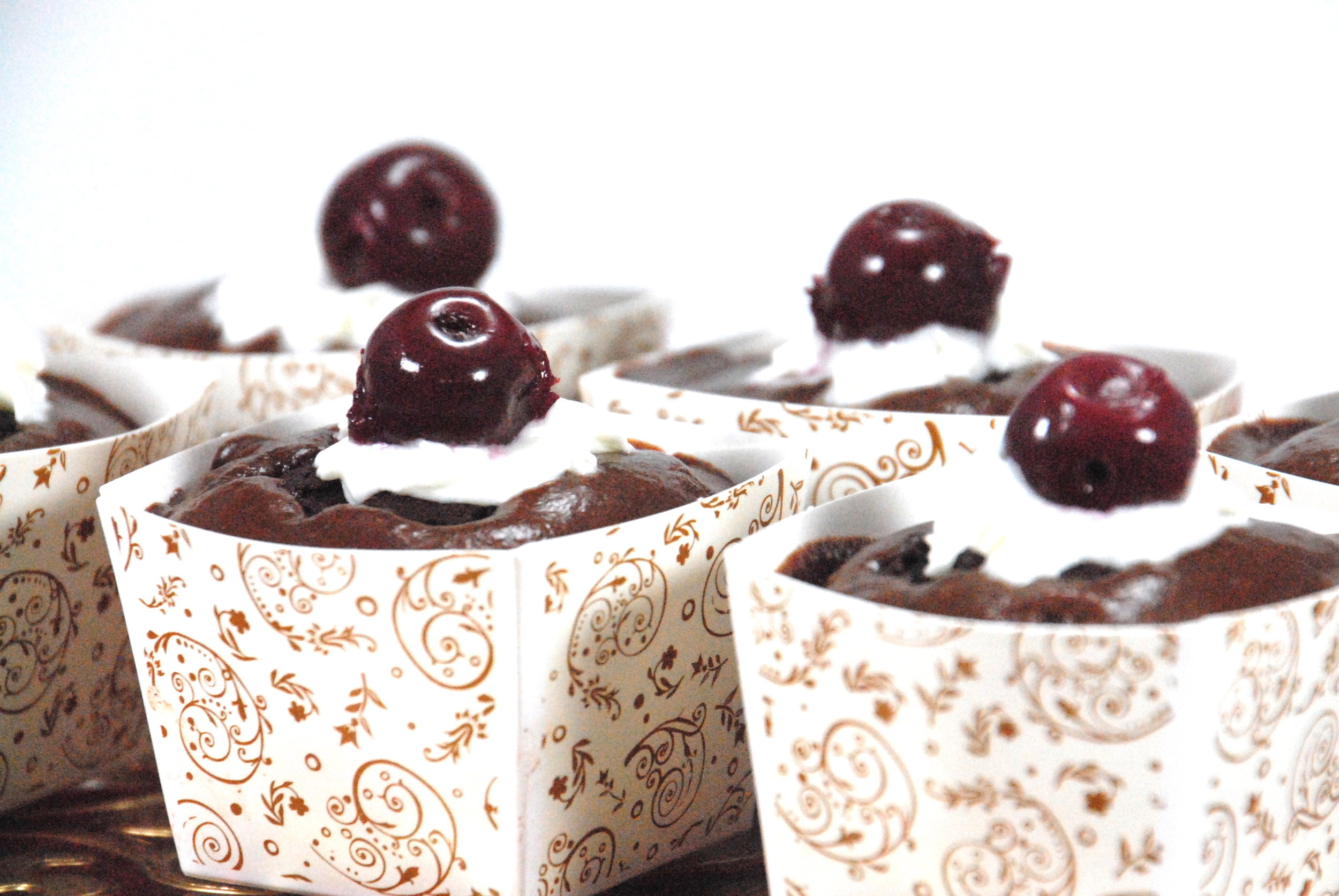 black forest cupcake with Forte chocolate plum spread frosting