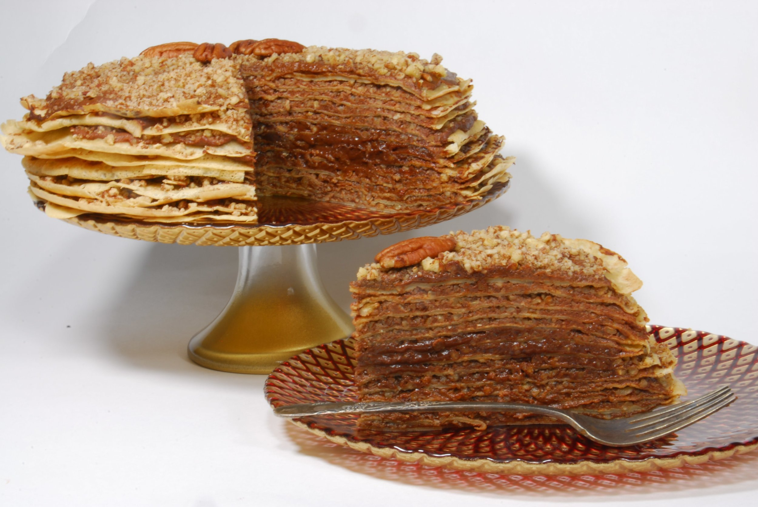 Gluten free crepe torte with Forte chocolate spread