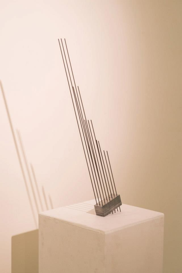 """Steel Rods in Space, 2012  cold rolled steel rods, steel tie plates, 3"""" x 9"""" x 22"""""""