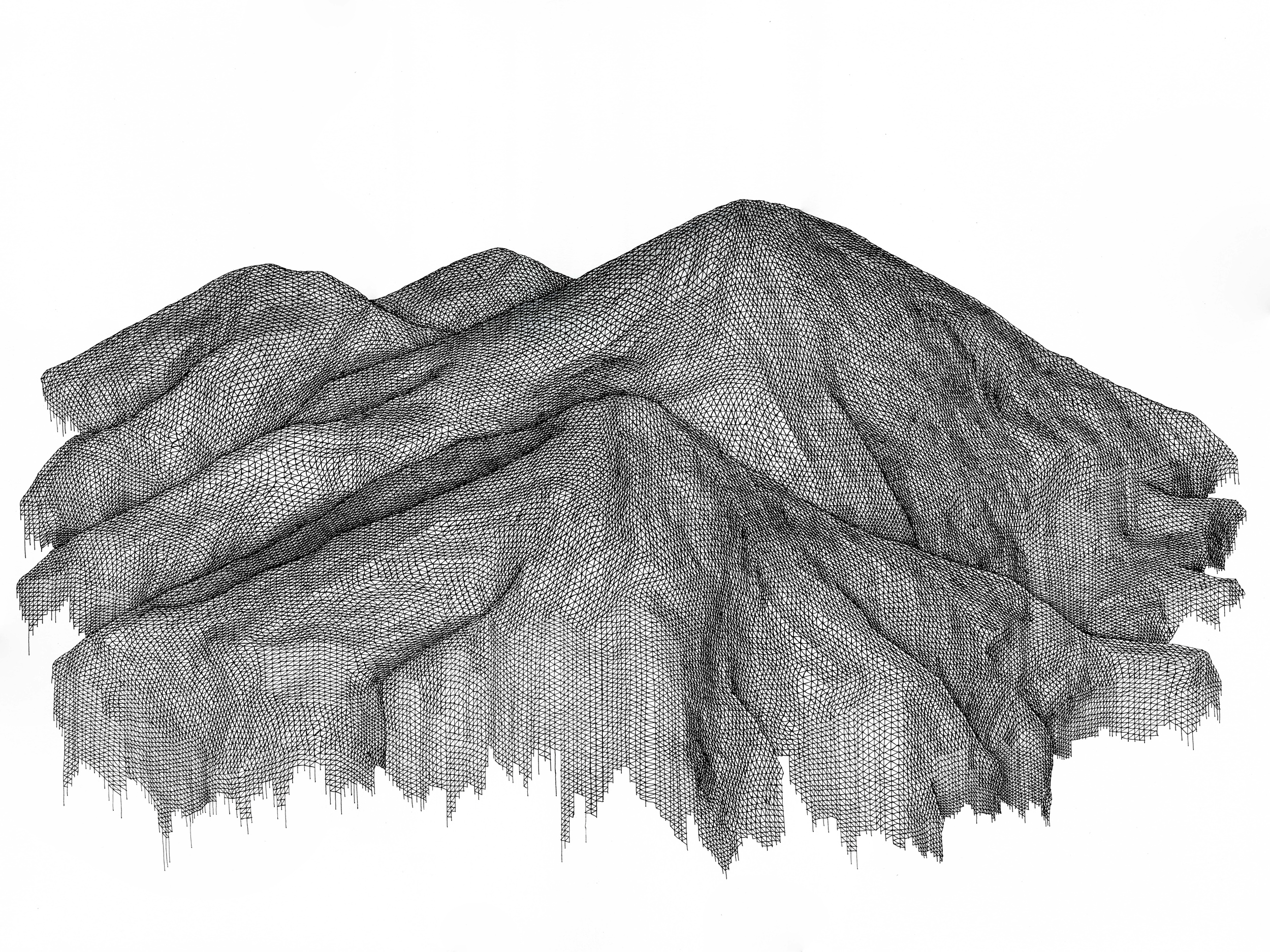 """Topographical Glitch, 2015  pen on 140 lb paper, 18"""" x 24""""   SOLD"""