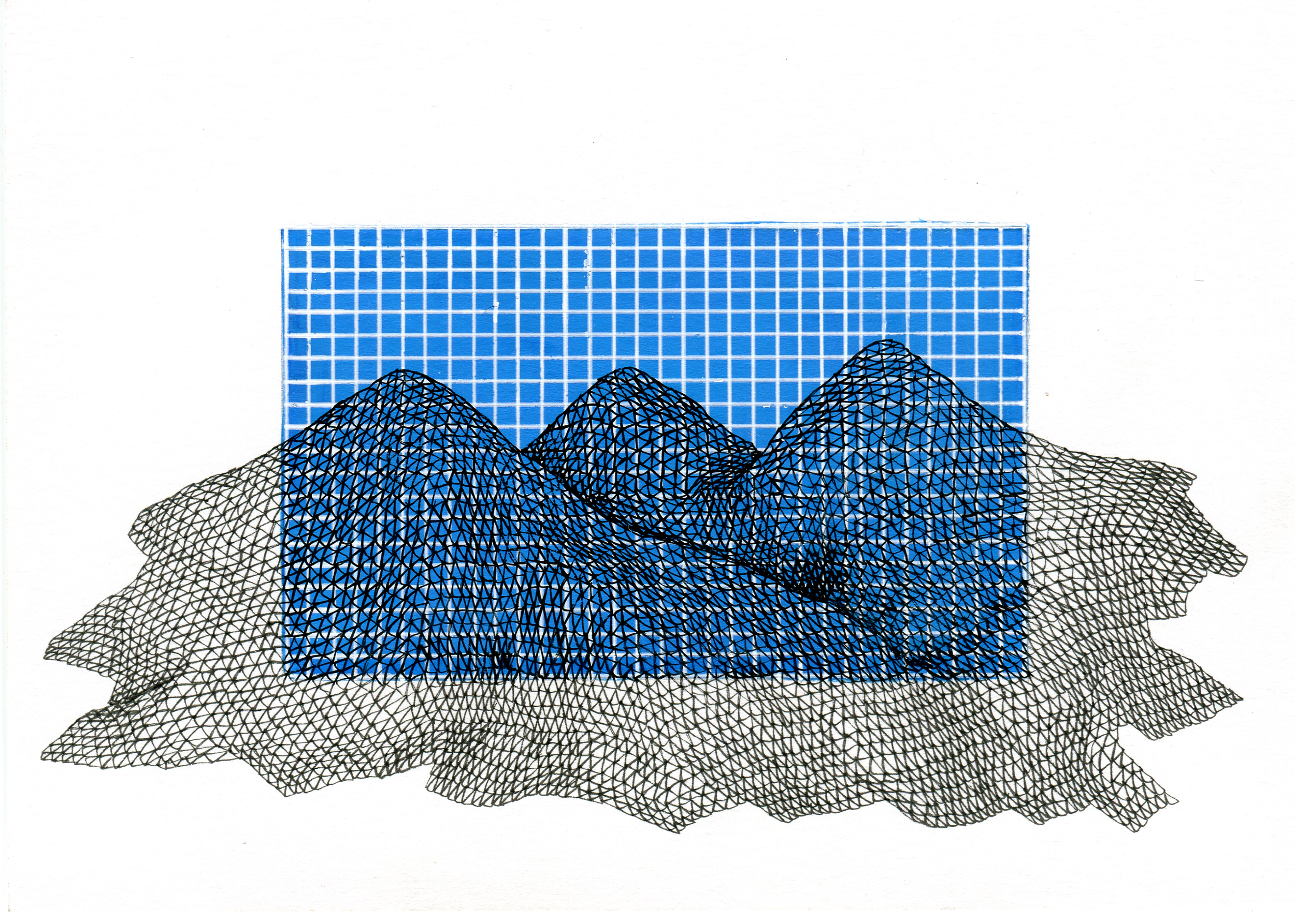 "Topography Over 2D Plane, 2015  pen and acrylic ink on 140 lb paper, 5"" x 7"""