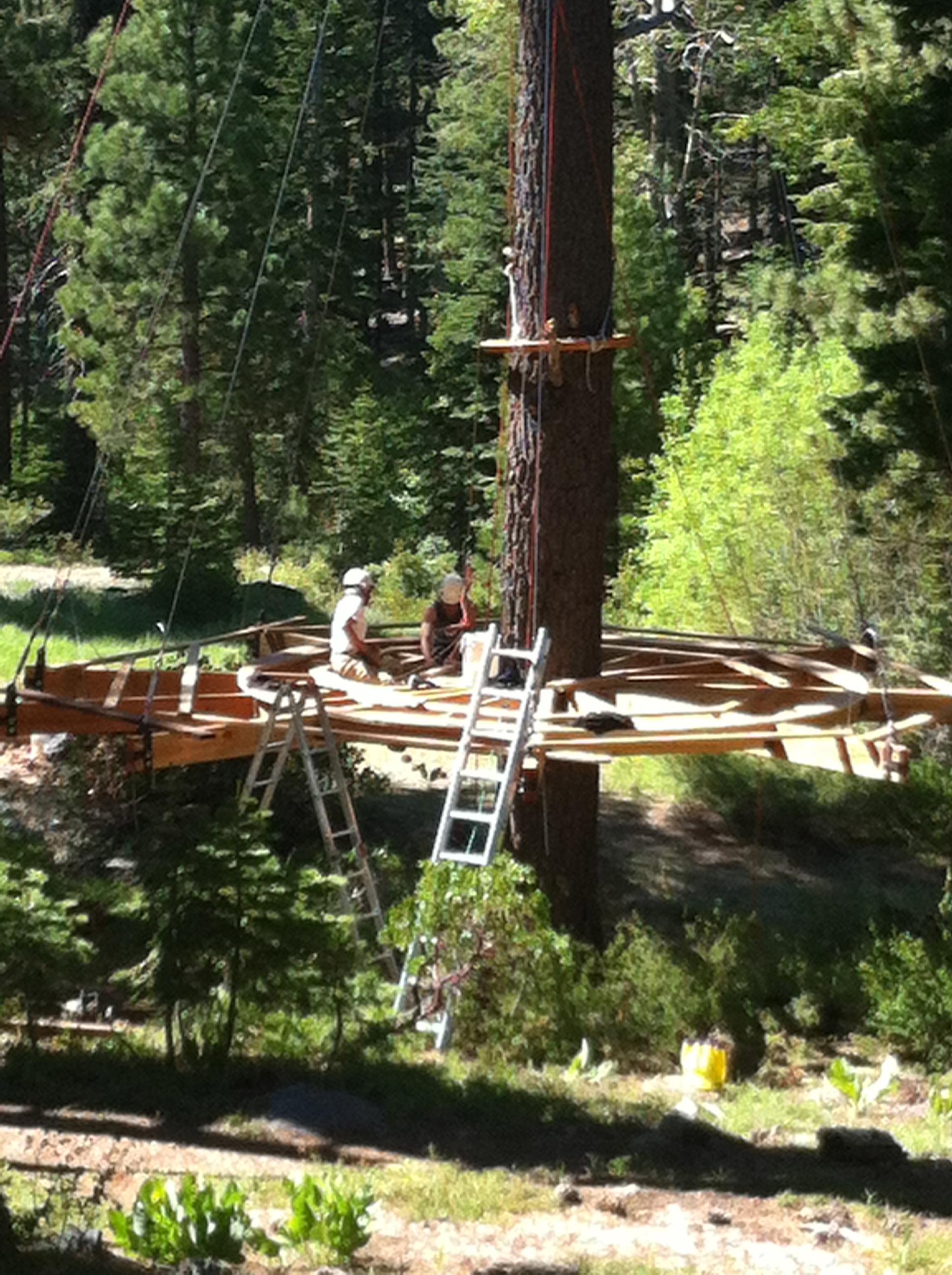 Building the yurt Tahoe Treetop Adventure Park