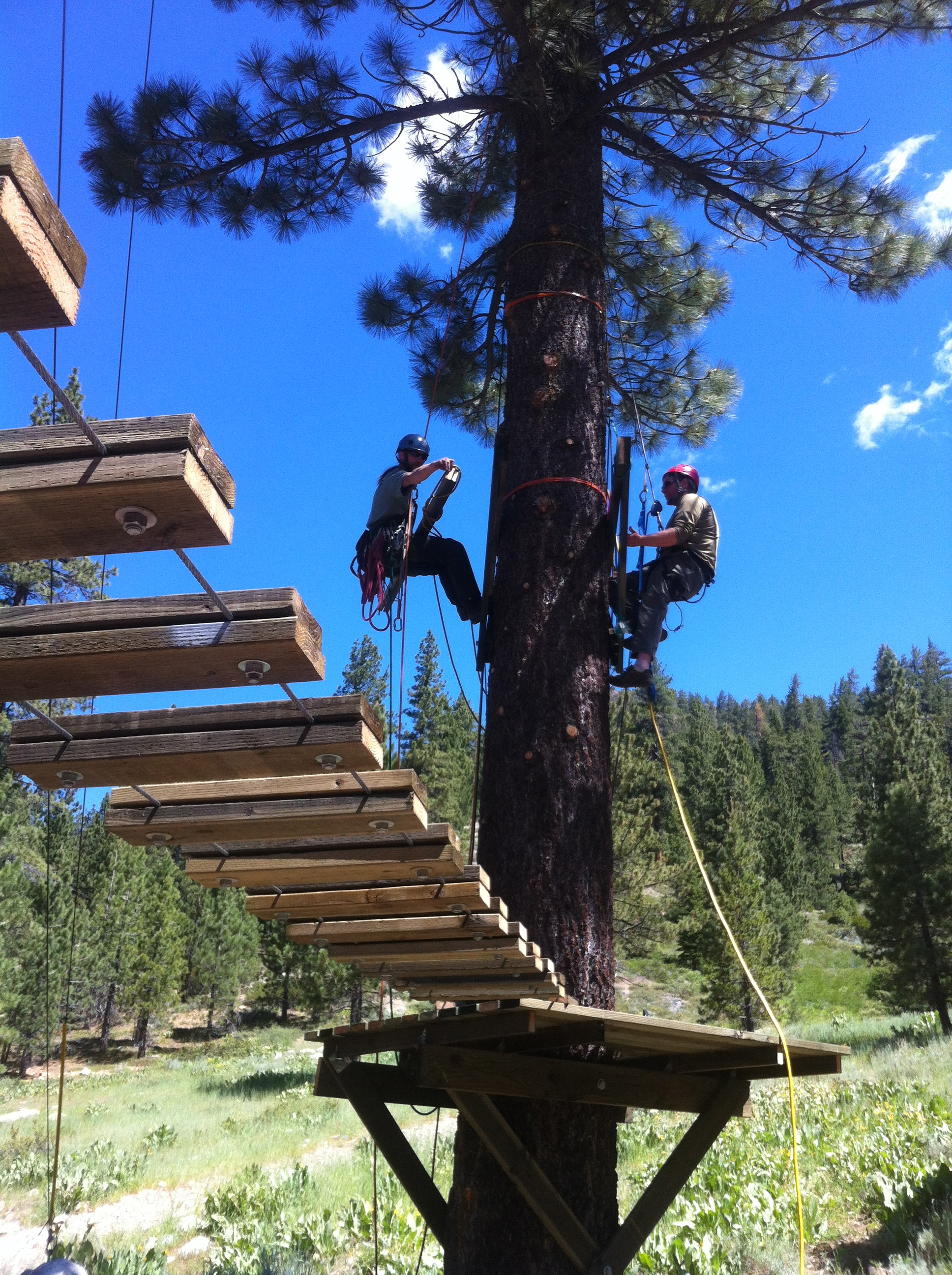 Platform install Squaw Valley Ropes Course