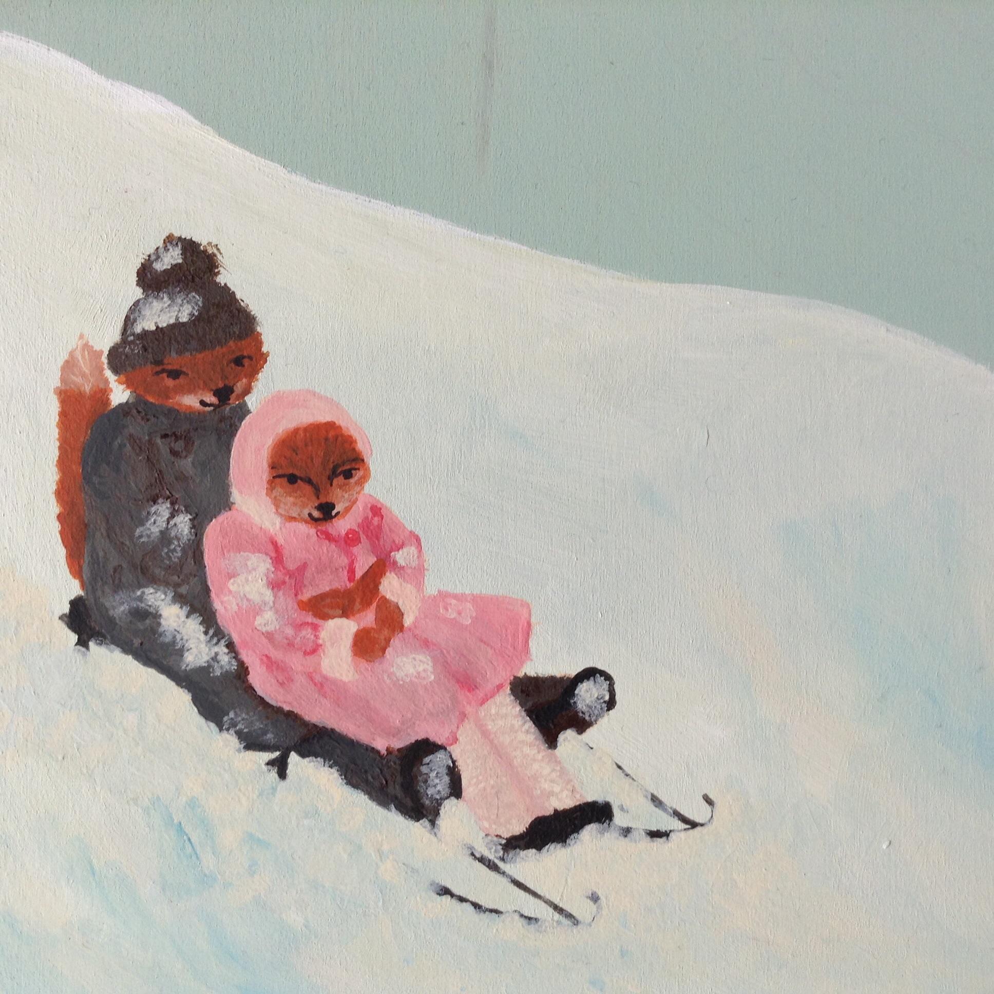 fox in the snow (sledding)