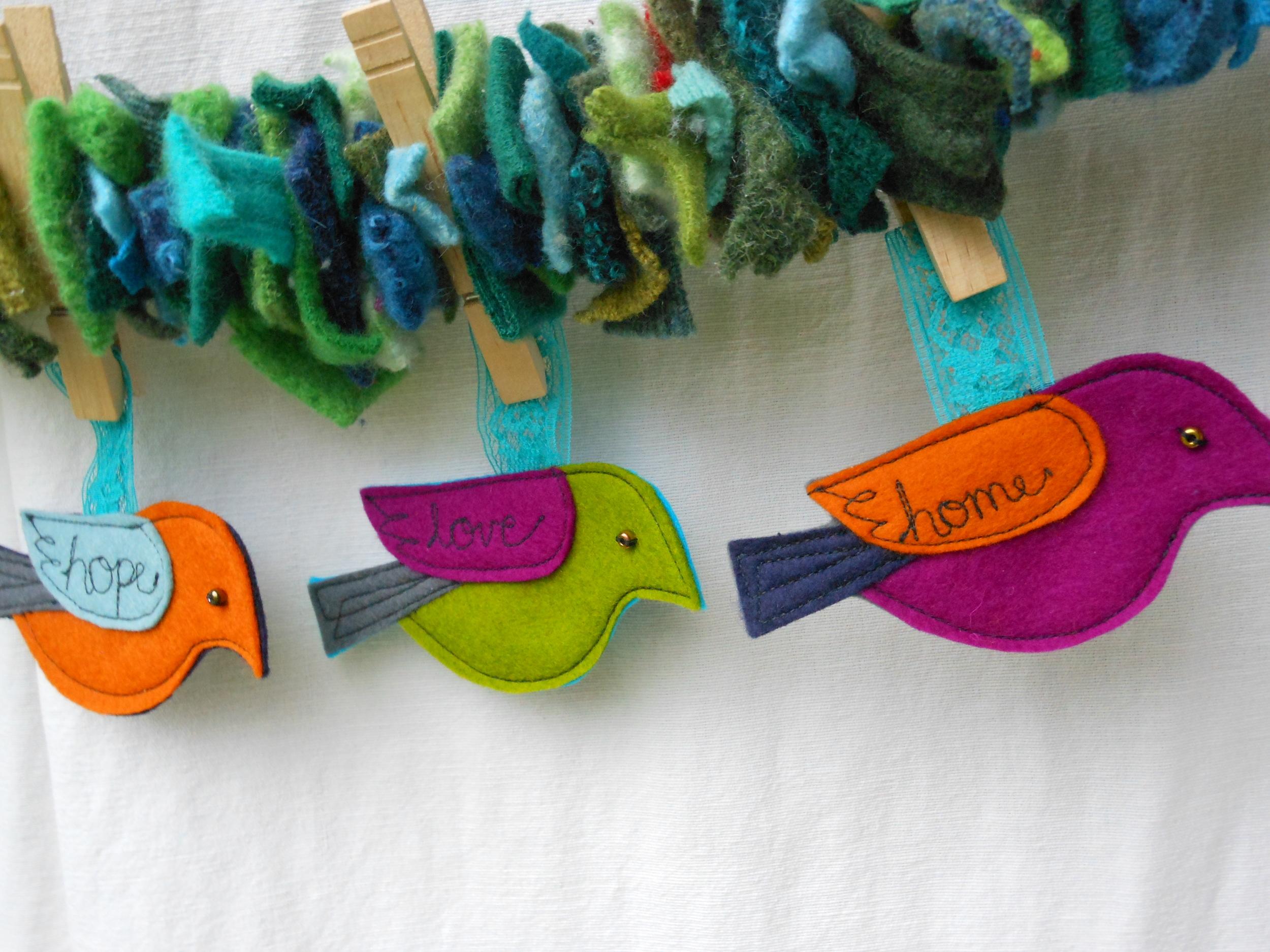 word bird ornaments
