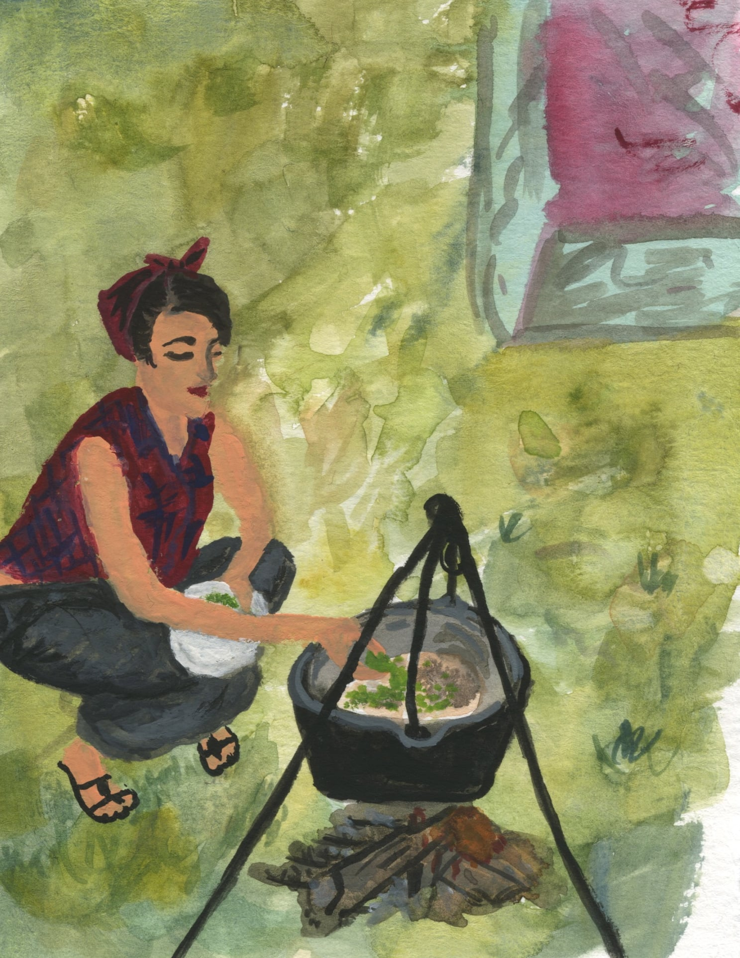 one of my first gouache studies, inspired by a tiny picture in Saveur magazine of a lovely lady making soup outside.