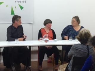 Left: Moderator Peter Feeny, Centre: Panellist Molly Mullens, Right: Panellist Artist Erica Tiedmann