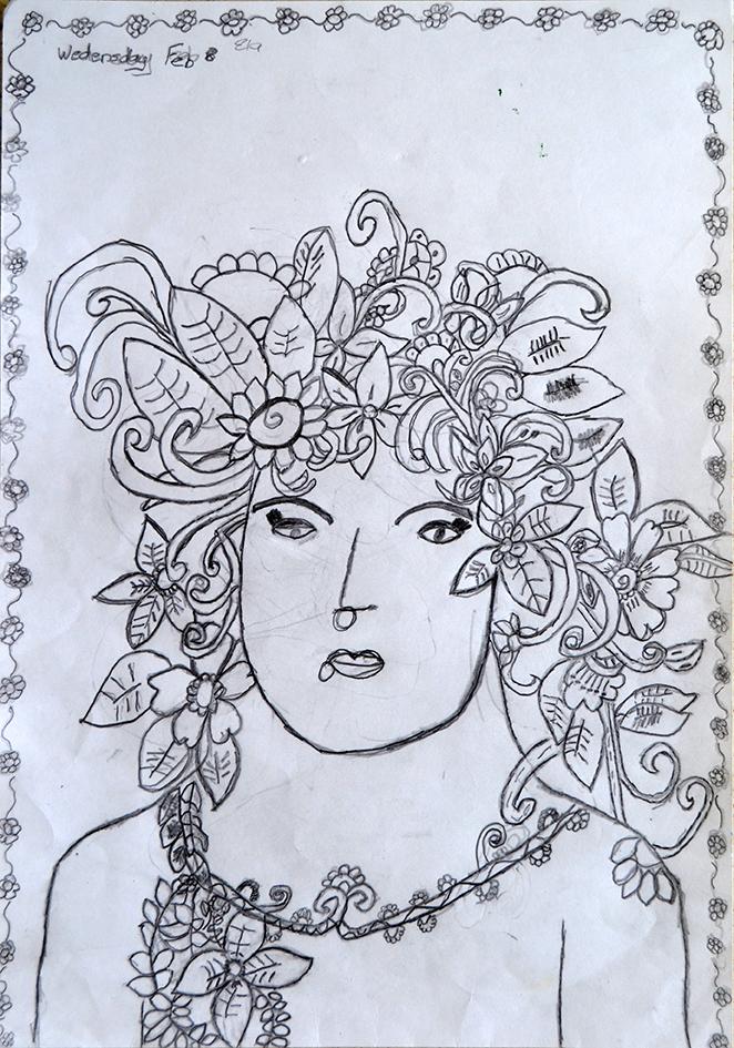 Ela Tukuhaukaua, Untitled pencil drawing, 2017
