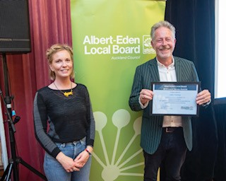 John Ferriss receiving his Albert-Eden Local Heroes Honour Award 2019