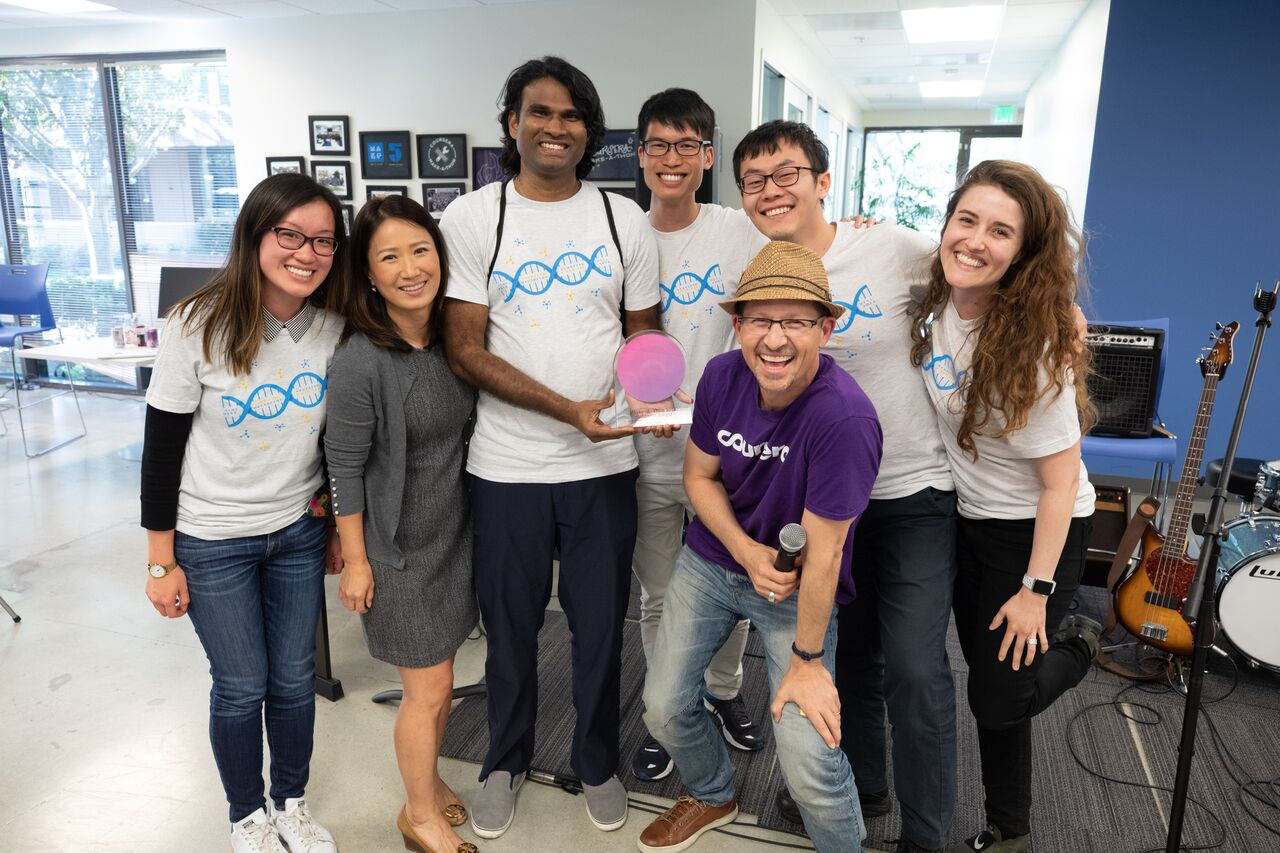 Hackathon spring 2018 team winners (Megan on far right)