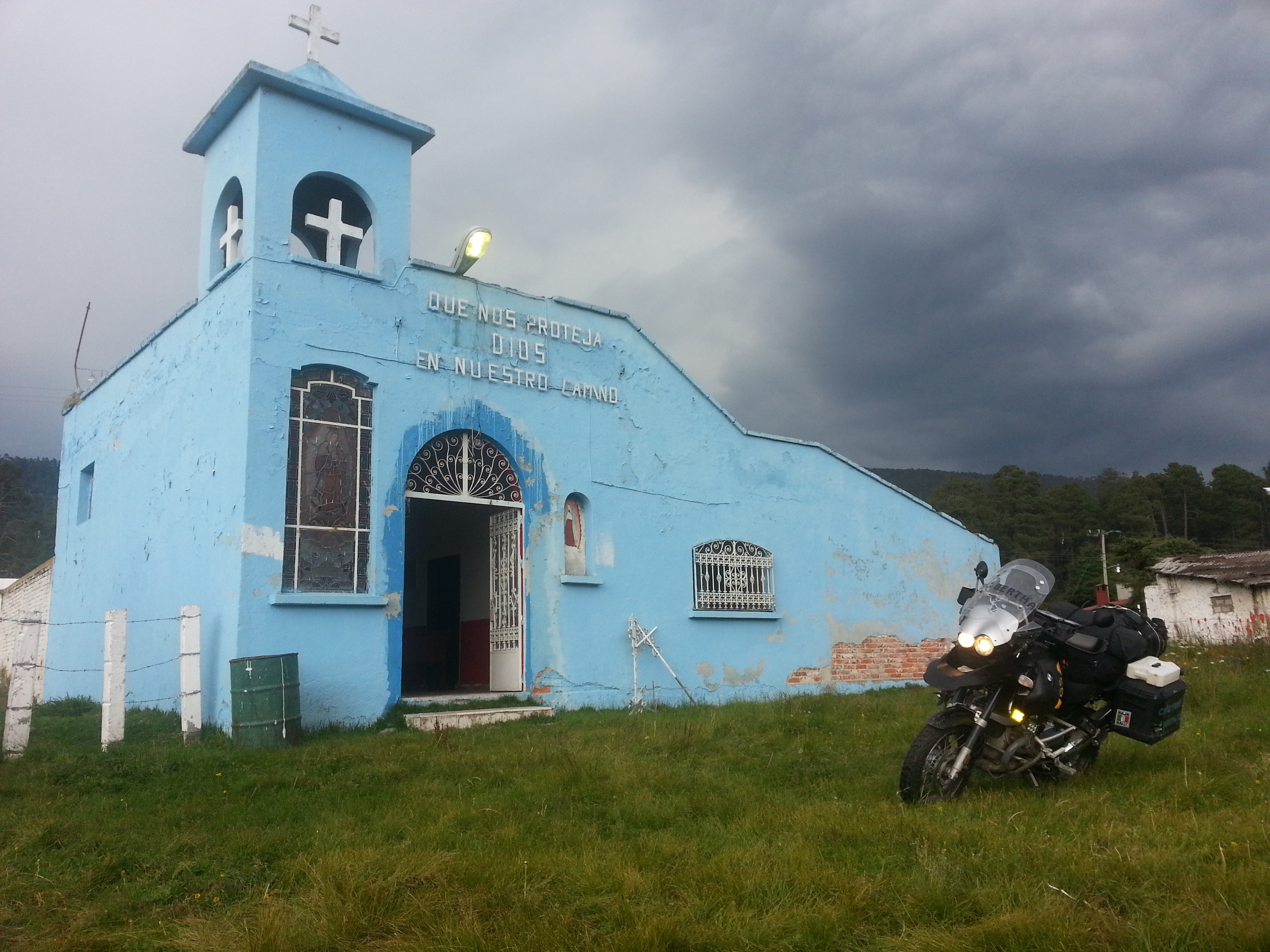 Baby blue church...you don't see that everyday.