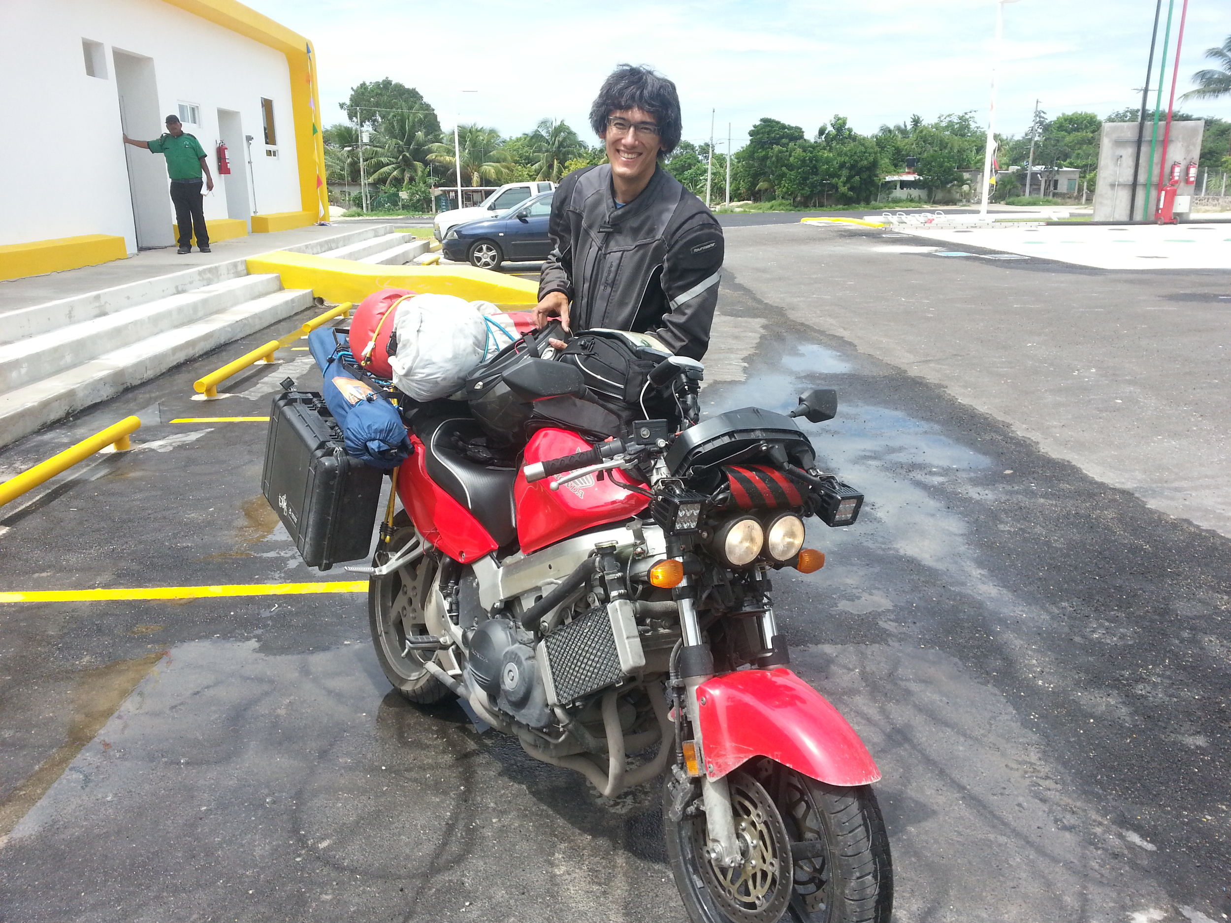 Paul from Witchita...on his Honda CBR 800 on his way to Panama