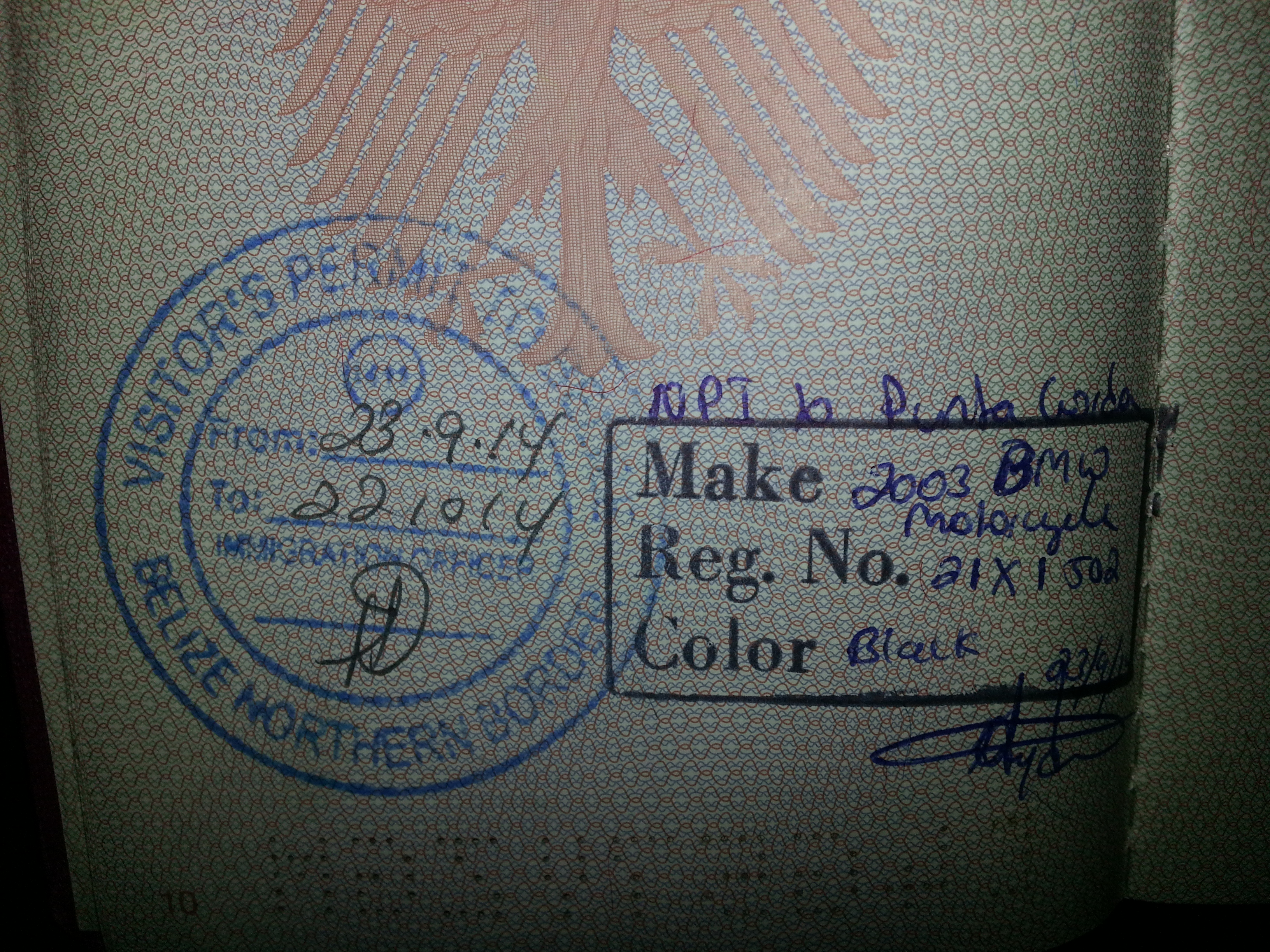 Belize visa...sideways