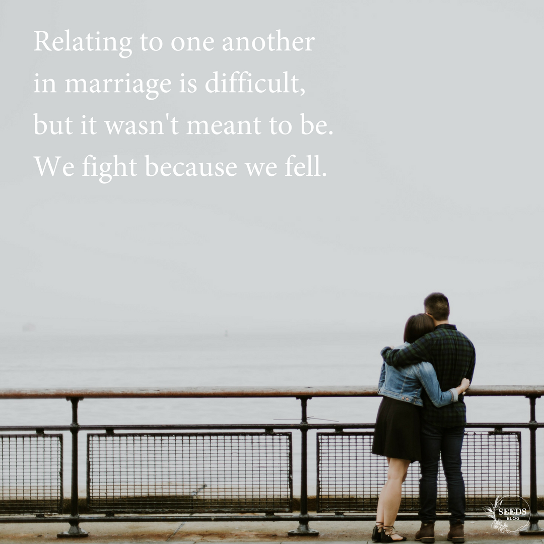 Relating to one another in marriage is difficult, but it wasn't meant to be. We fight because we fell..png