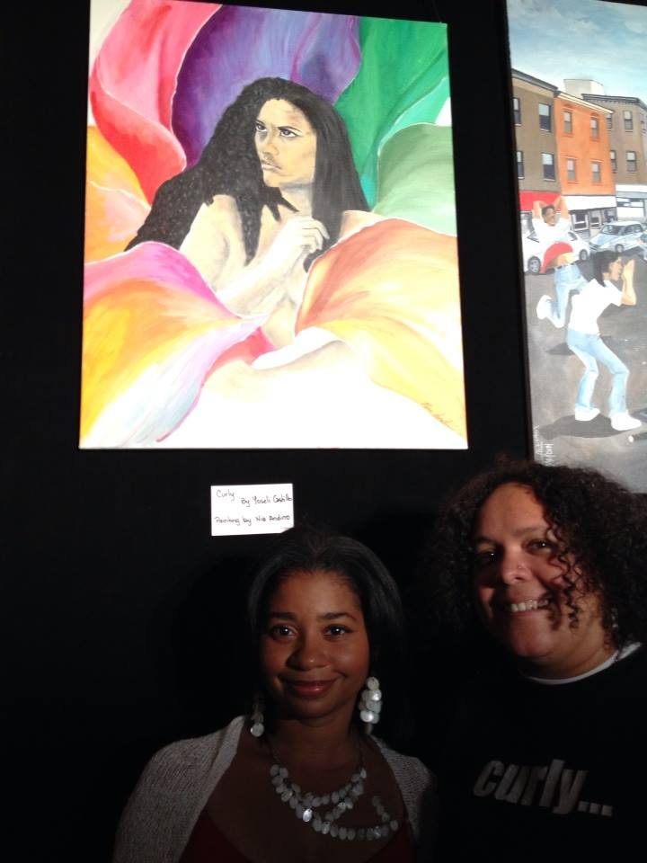 Me and writer Yoseli Castillo beneath my Curly painting inspired by her poem titled Curly