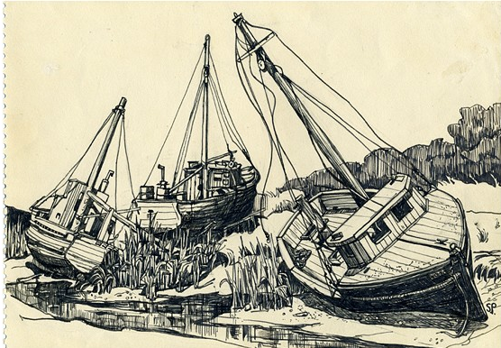 Boat of Rock Harbour Cap Cod by Sylvia Plath