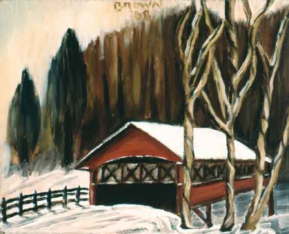 Brown Garage in the Snow by Christy Brown