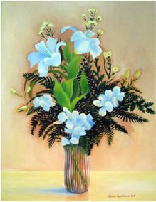Glass Vase White Flowers by Sandra Maria Estevez