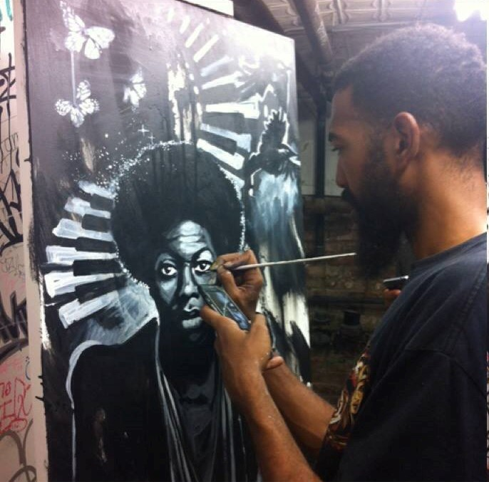 Live painting of Nina Simone by Andre Trenier