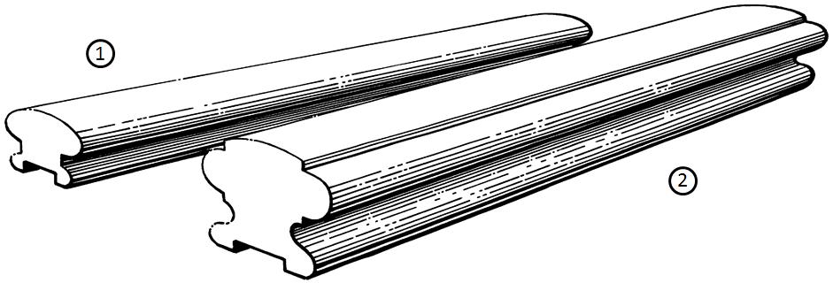 Handrails    Product Code:  HR1ASL *1  Dimensions:  65 x 42 mm   Product Code:  HR2ASL *2  Dimensions:  85 x 65 mm   Standard Rebate:  19 mm WIDE x 12 mm DEEP