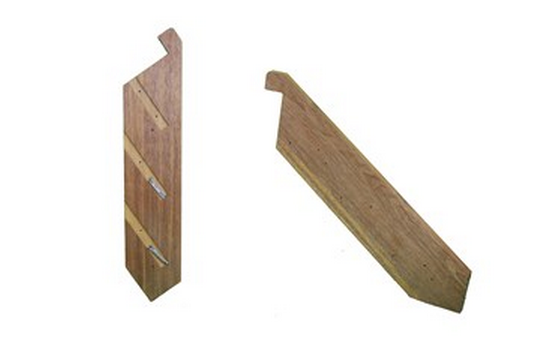 Stringers - MERBAU  with Batten Screws  PREMIUM  Product Code:  KMPRSTAIR  Made using 290 x 42mm MERBAU   Measurements:   Height:  330mm  Width:  900mm wide – 5400mm wide  Distance out from platform 380mm  TREADS NOT INCLUDED