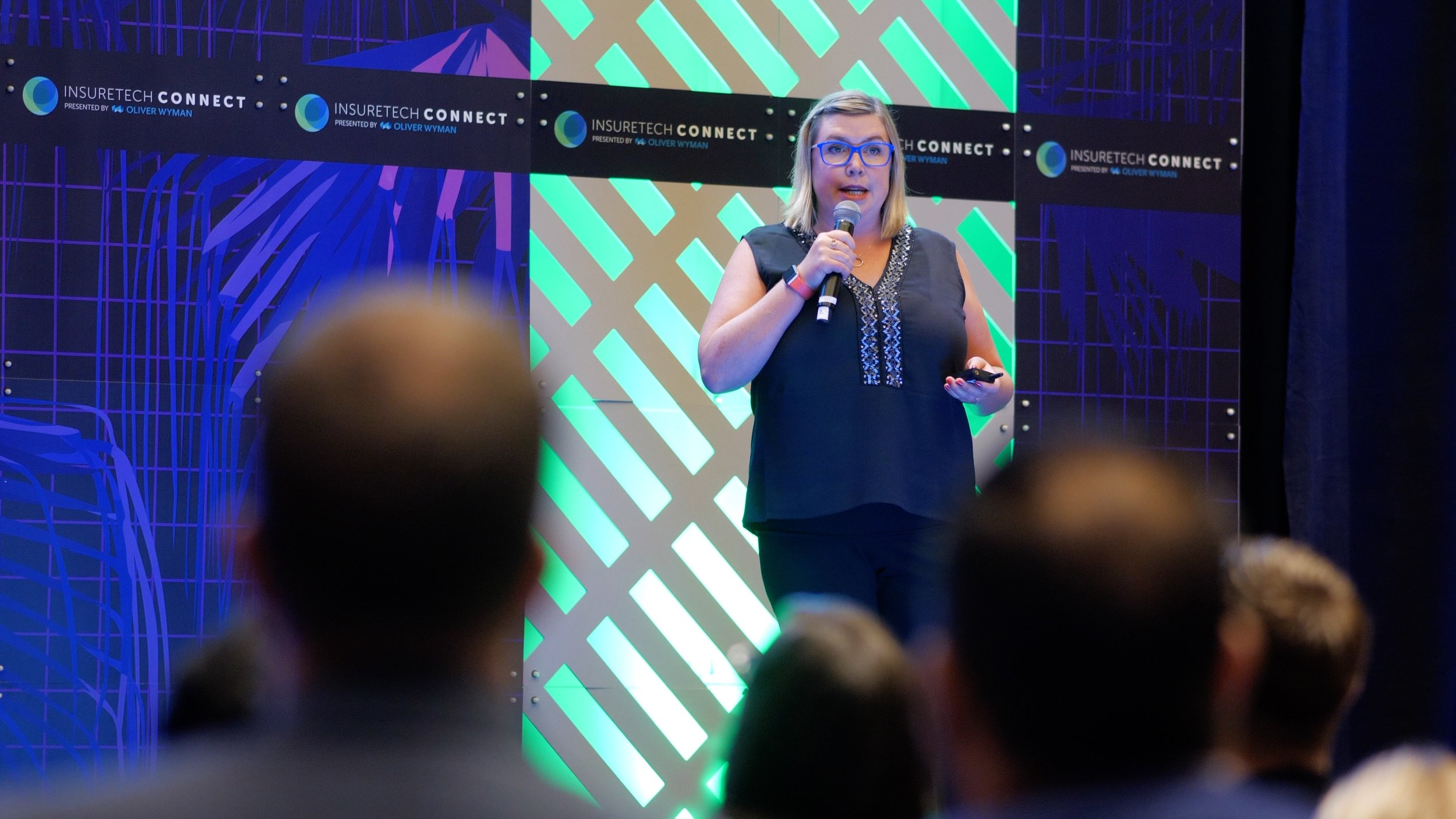 The Winner -  Christy Lane, co-founder and co-CEO of Vivametrica, pitching at the FFiT 2018 InsurTech final live pitch event