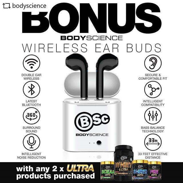 Buy any two of the @bodyscience Ultra range and get a free pair of Wireless Ear Bud.