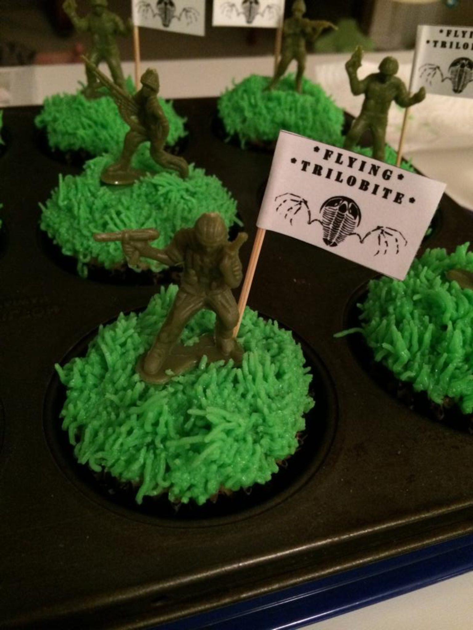 Michelle completed the theme with camouflage cupcakes.