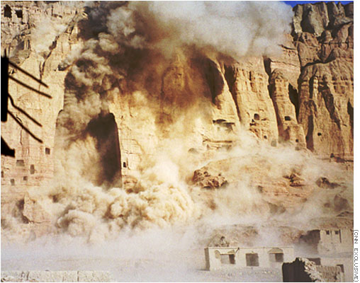 March 21, 2001, the Buddhas were blown up by the Taliban. Image from Wikimedia, originally from CNN.