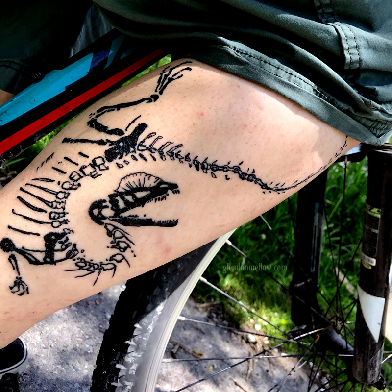 My new tattoo. Not fully healed yet in this pic, but pretty close. Dilophosaurus Cyclist Fossil.