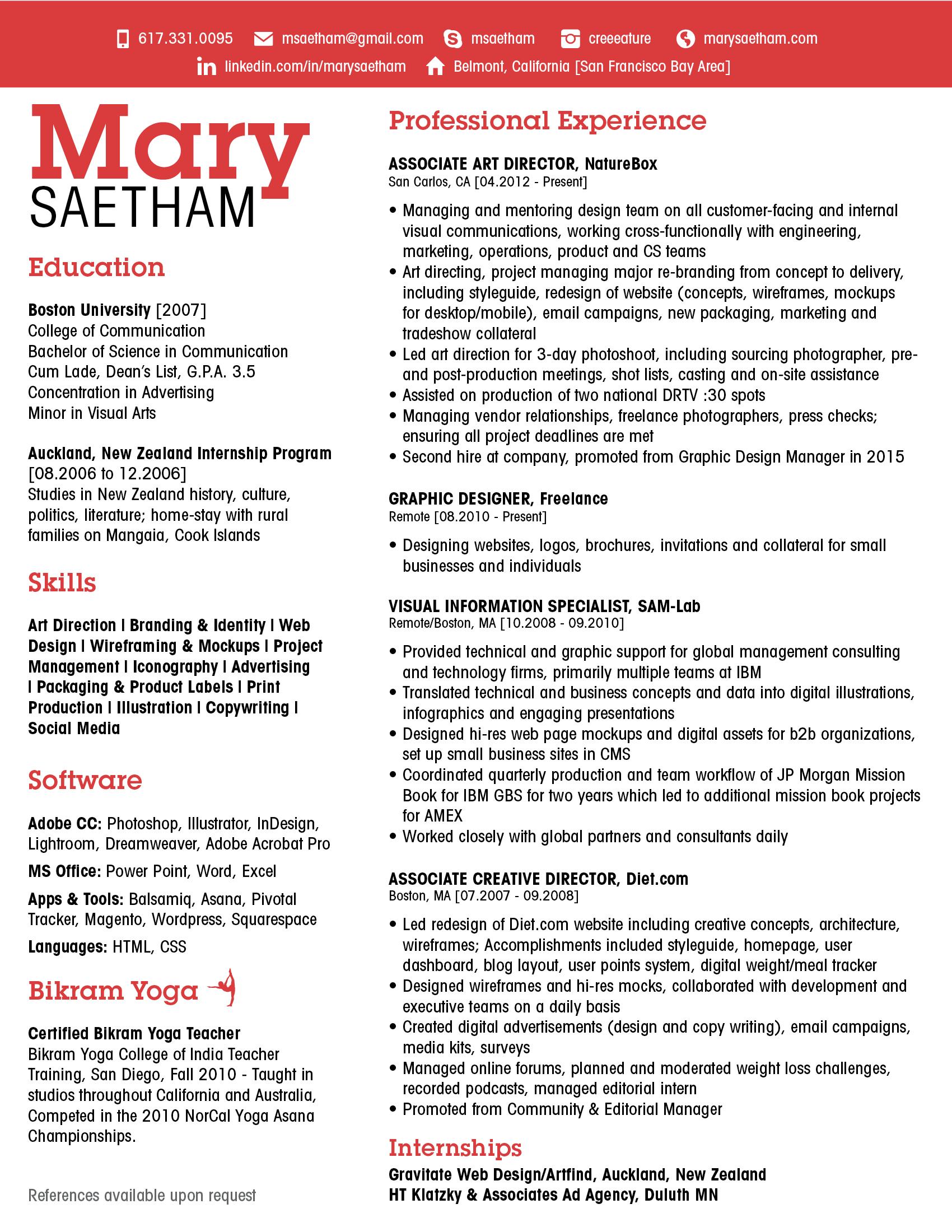 Resume Mary Saetham