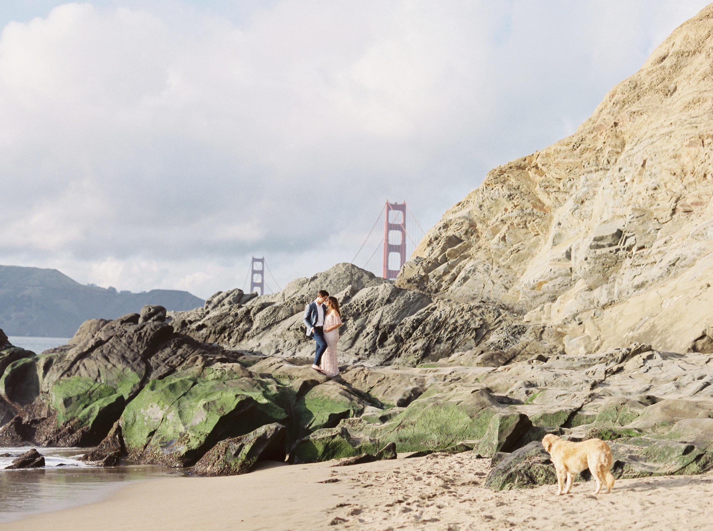 Romantic Maternity Session at Baker Beach San Francisco California