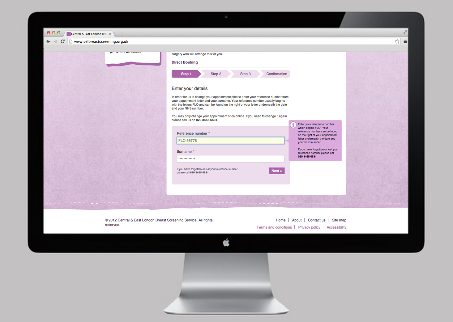 NHS Breast Screening website direct booking