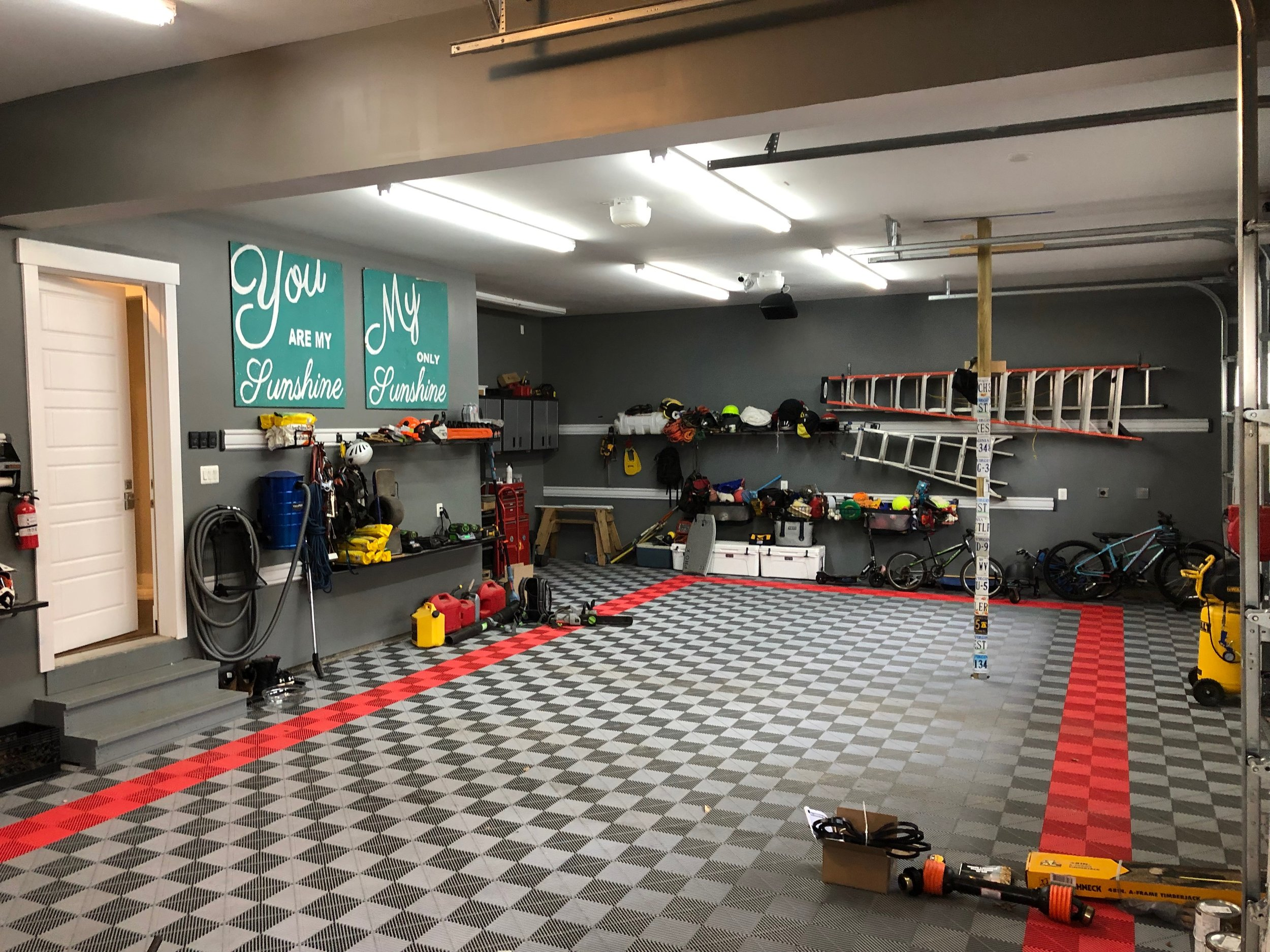 Garage and toy room.