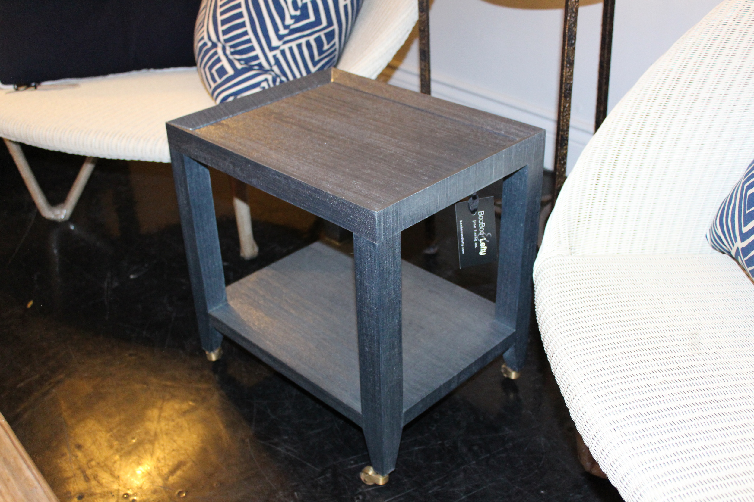 BLUE GRASSCLOTH TEA TABLE
