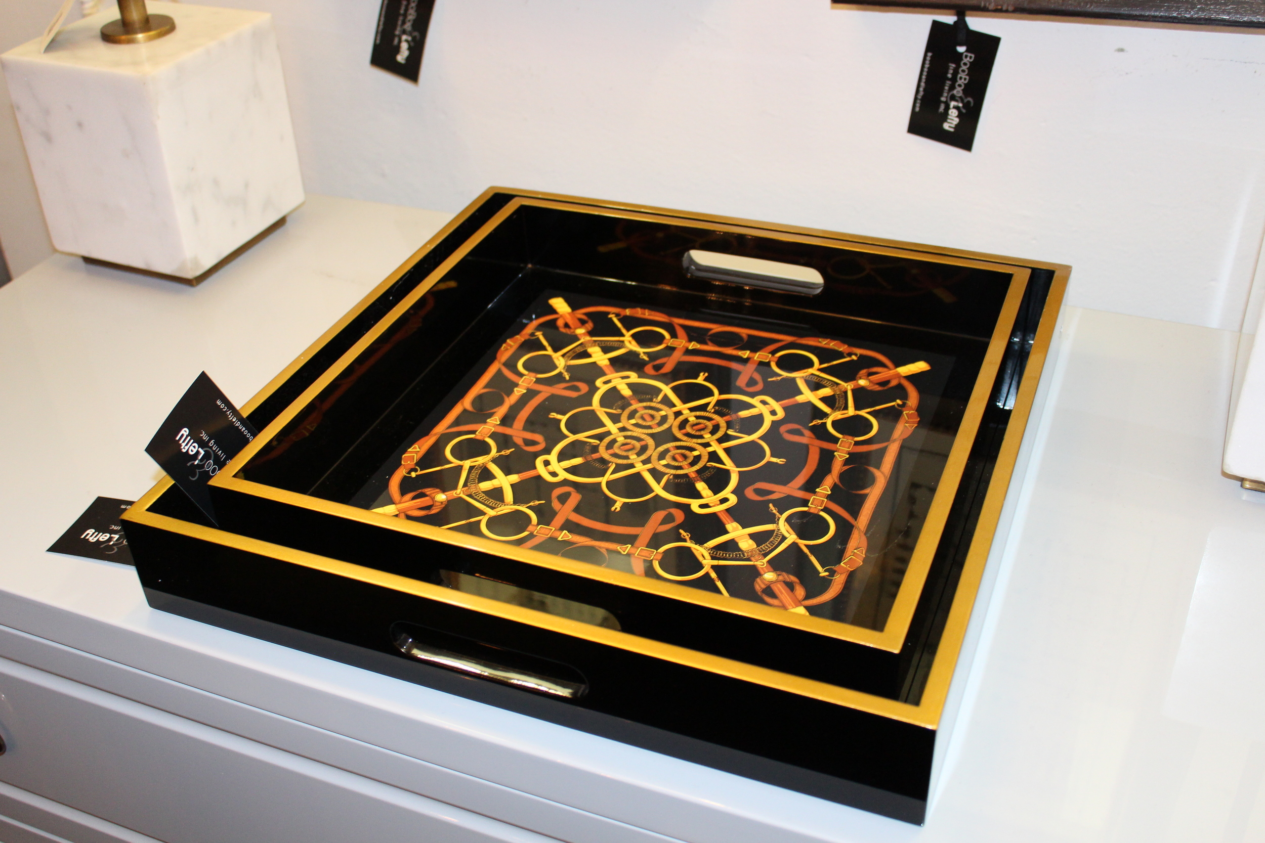 SMALL AND LARGE BLACK LACQUER DRESSAGE TRAYS